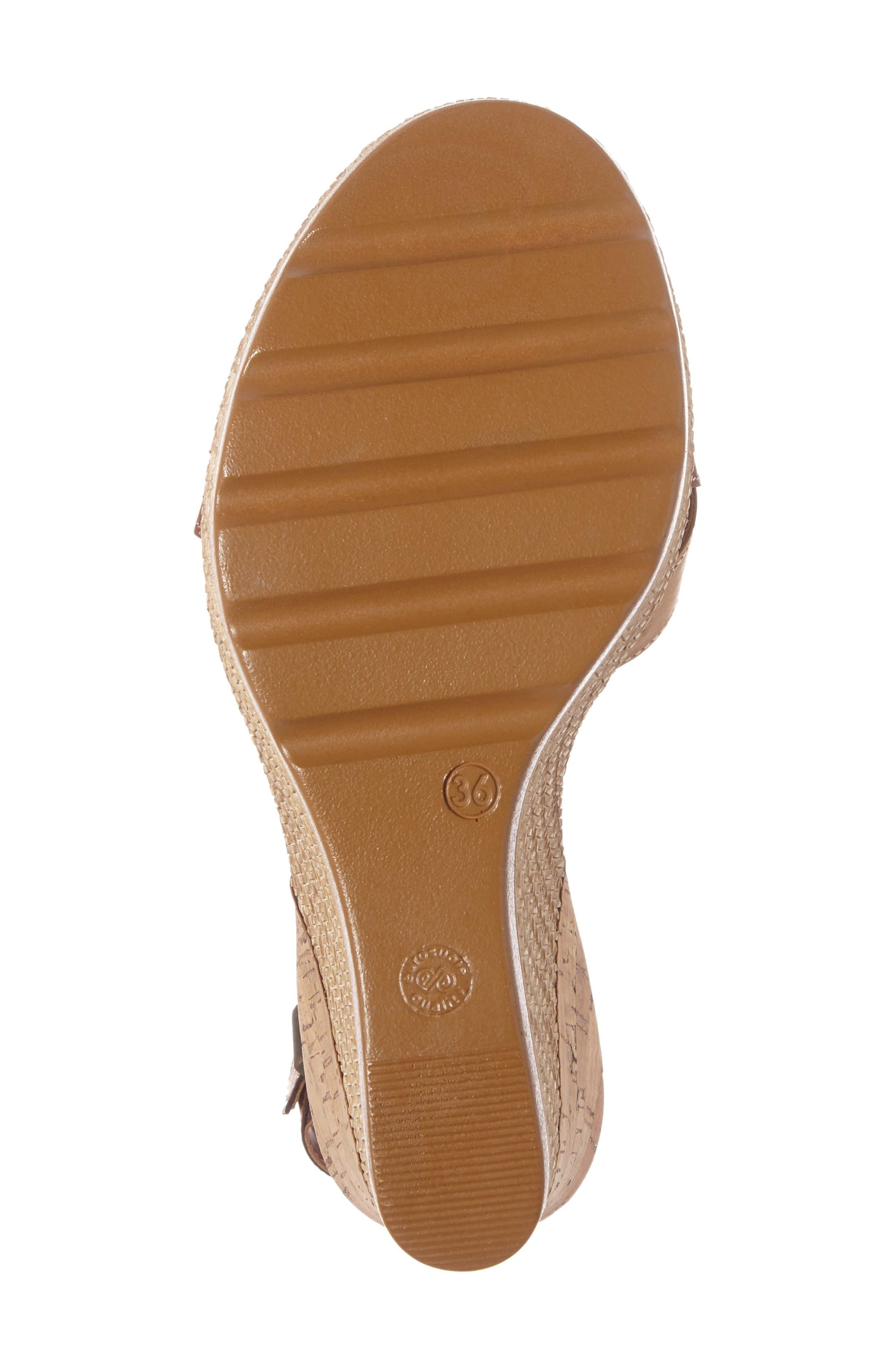 Modena Wedge Sandal,                             Alternate thumbnail 4, color,                             Cognac Leather