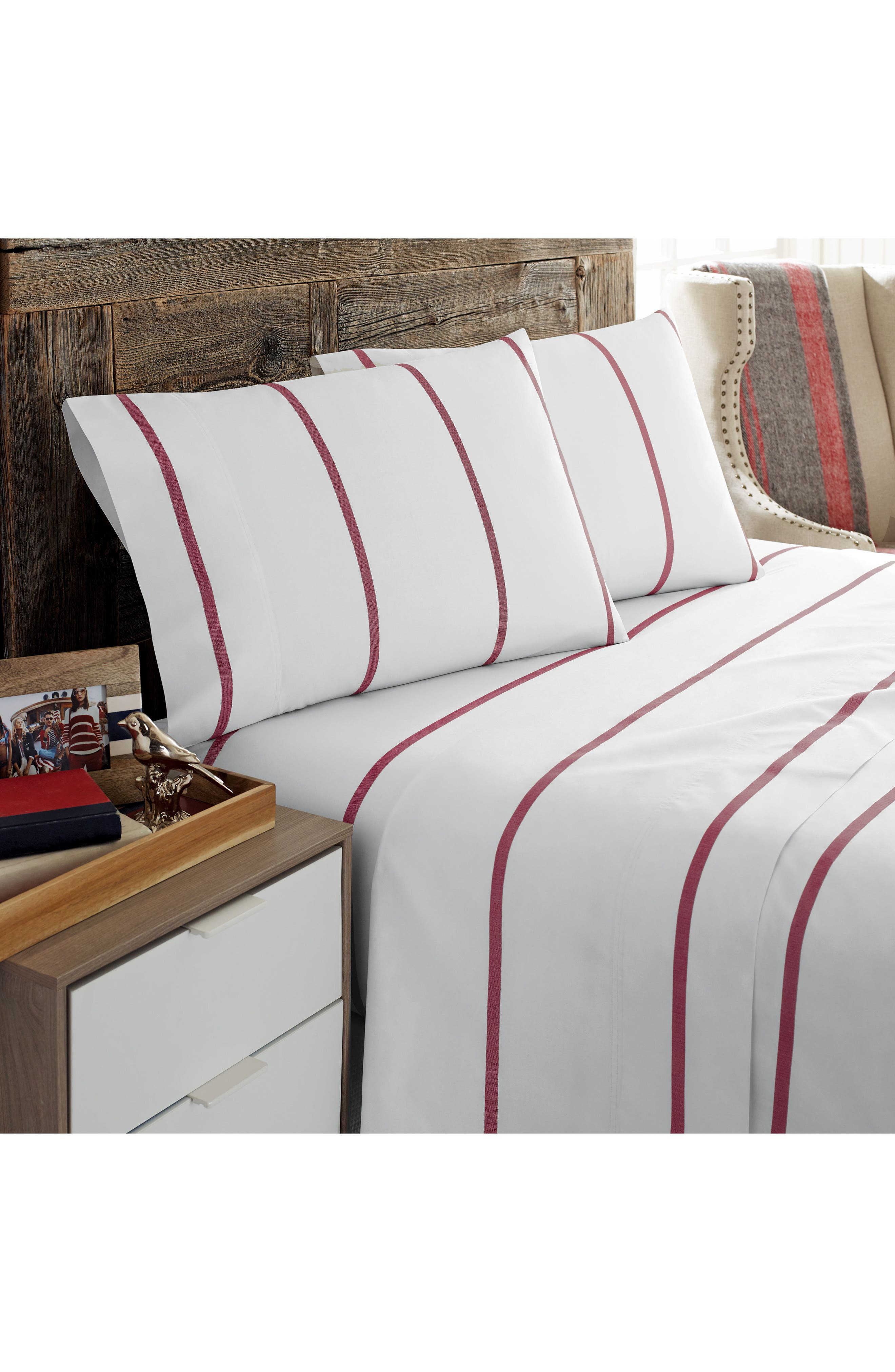 Sutton Stripe Pillowcases,                         Main,                         color, Red