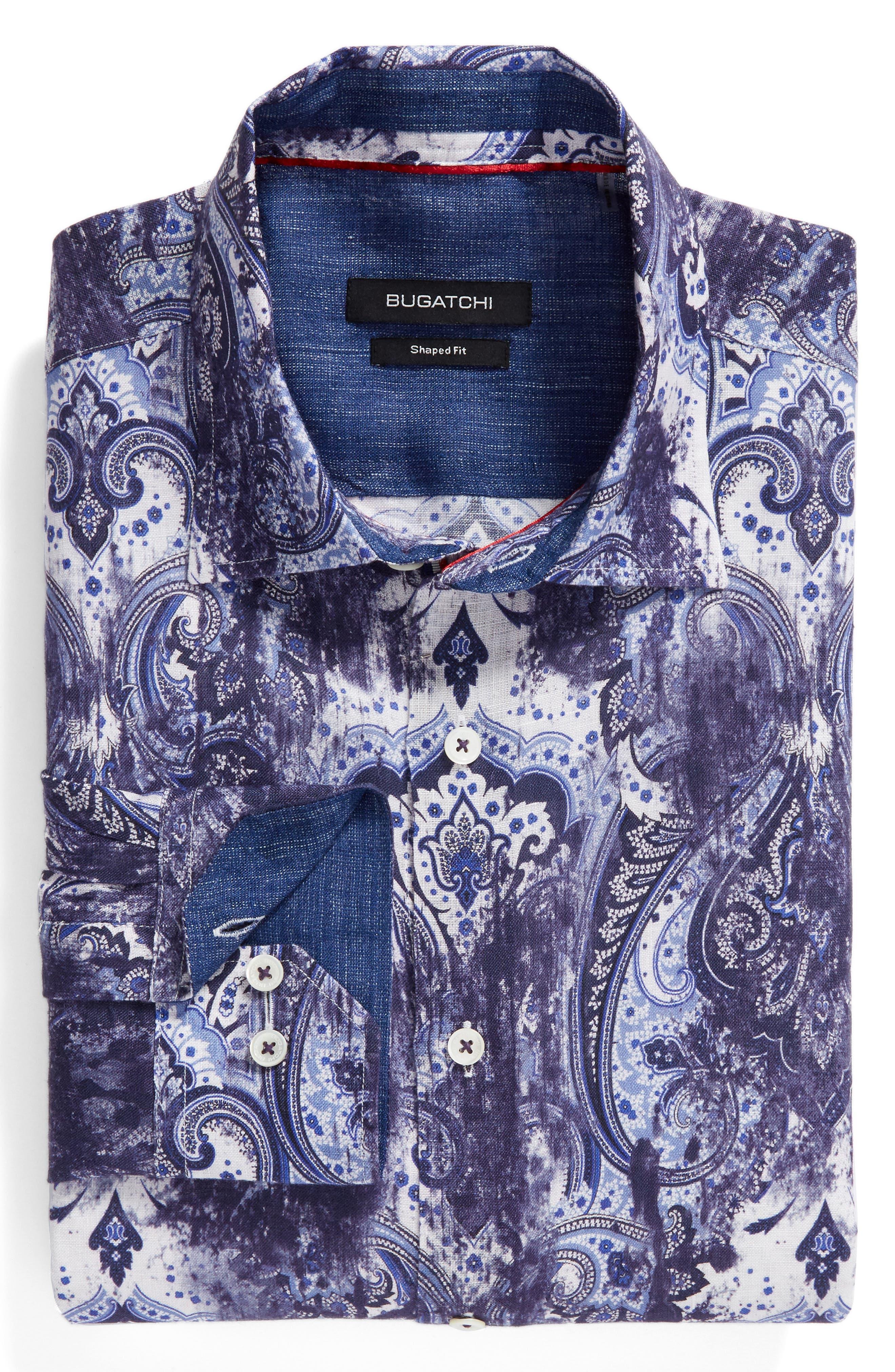 Alternate Image 6  - Bugatchi Shaped Fit Paisley Print Linen Sport Shirt