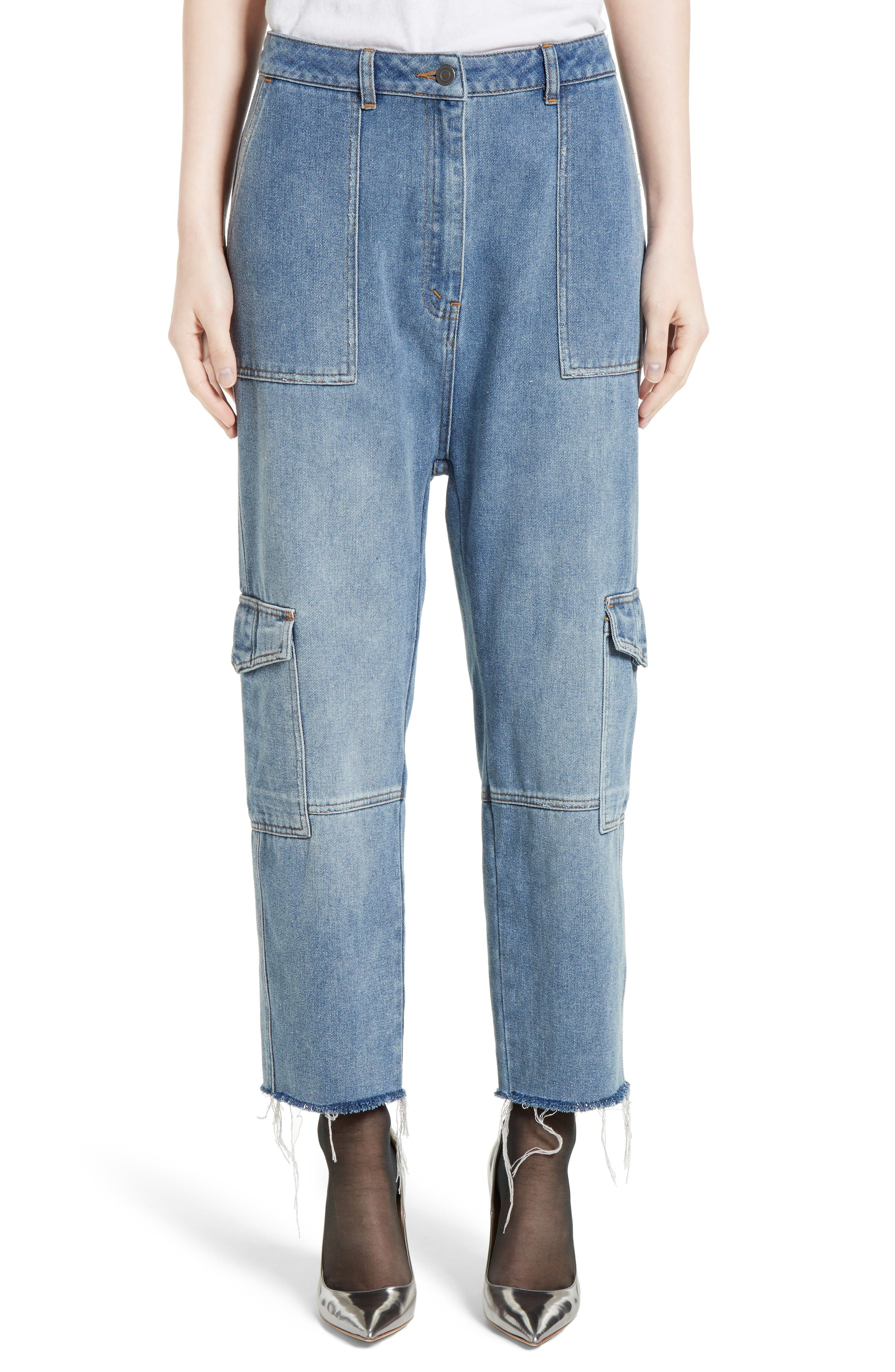 Robert Rodriguez Crop Drop Crotch Cargo Jeans (Medium Distressed)