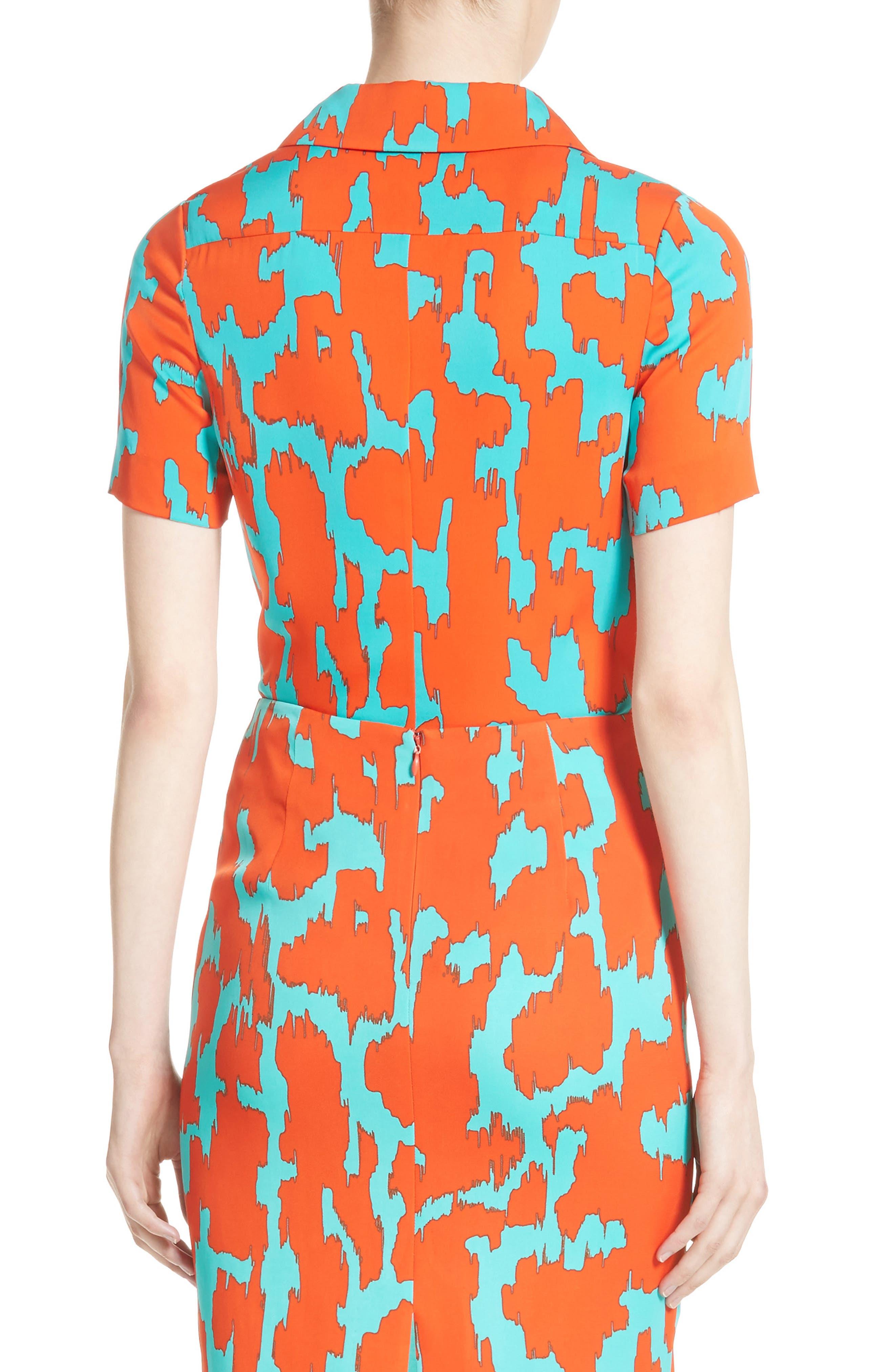 Diane von Furstenburg Print Stretch Silk Shirt,                             Alternate thumbnail 3, color,                             Bold Red