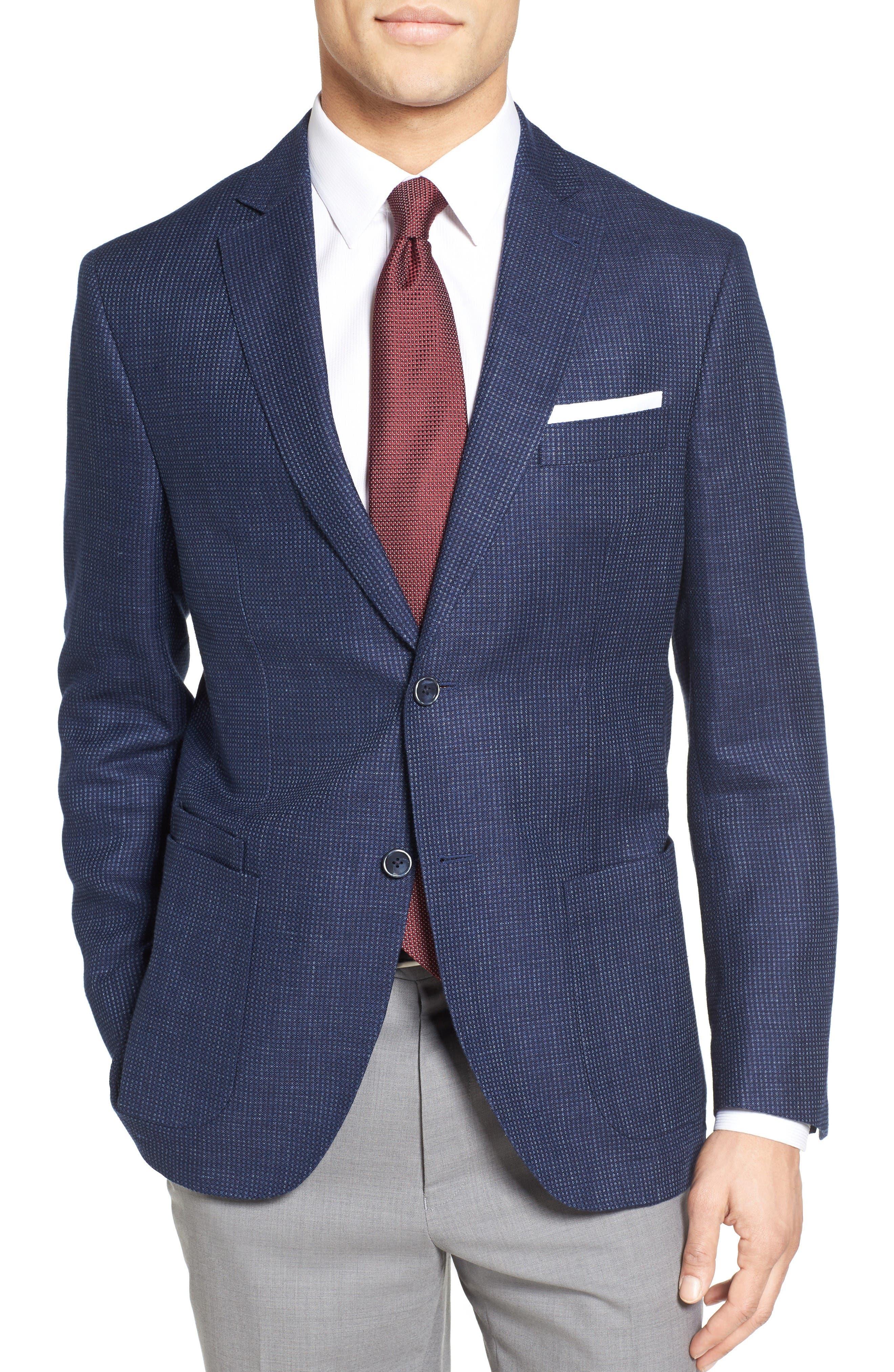 Trim Fit Bird's Eye Linen & Wool Sport Coat,                         Main,                         color, Navy