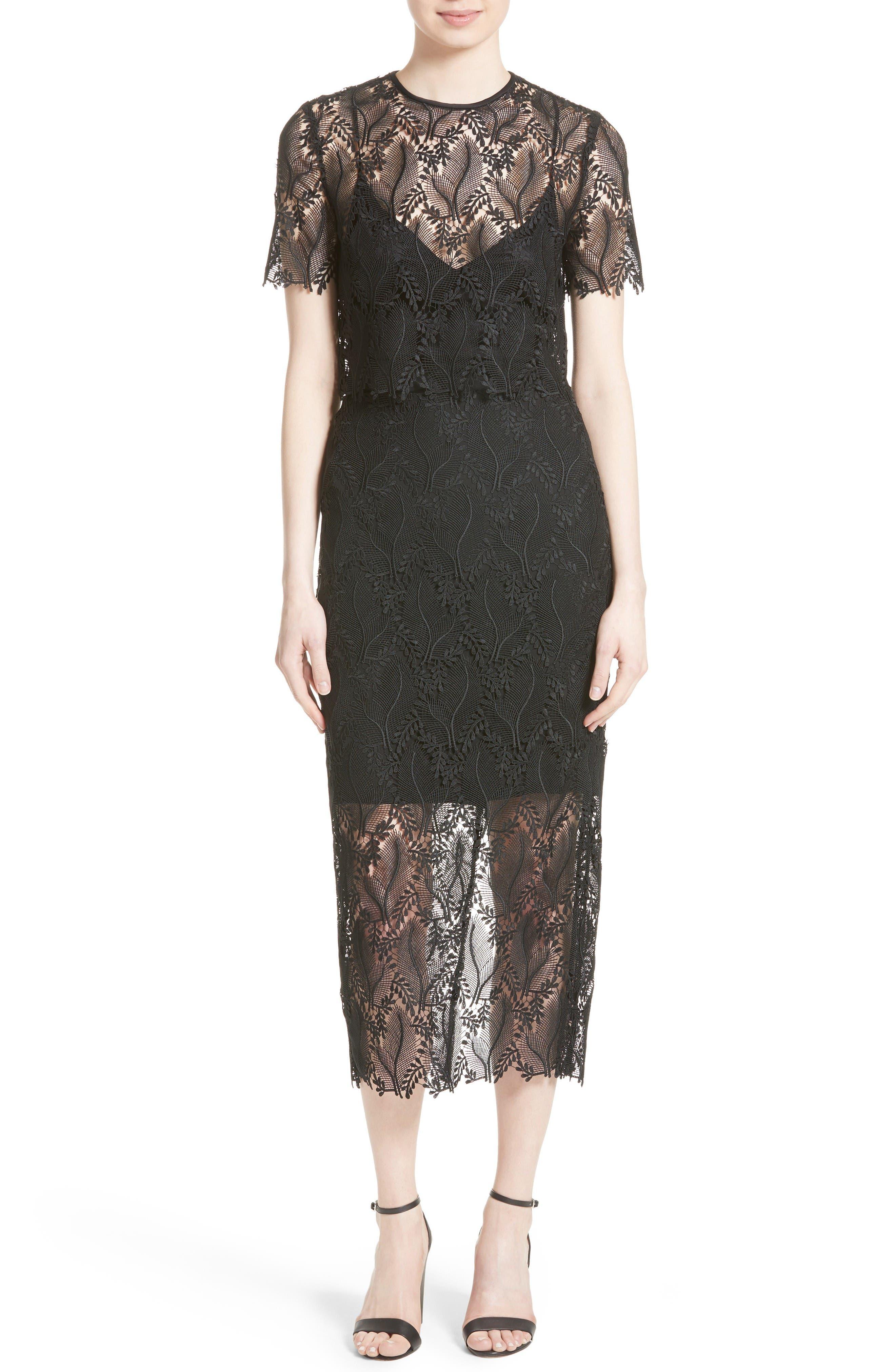 Lace Overlay Pencil Skirt,                             Alternate thumbnail 2, color,                             Black