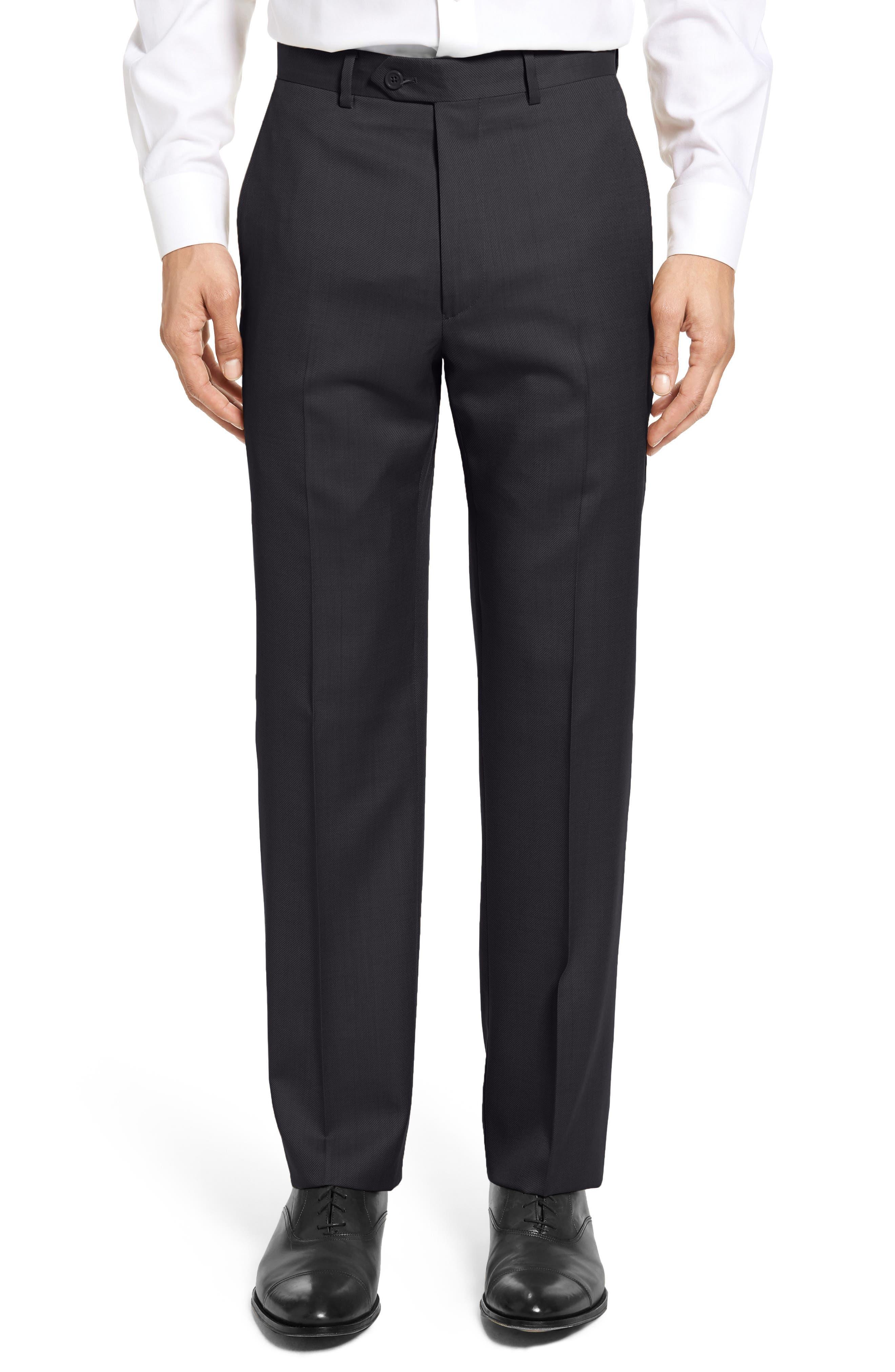 SANTORELLI Flat Front Twill Wool Trousers in Black