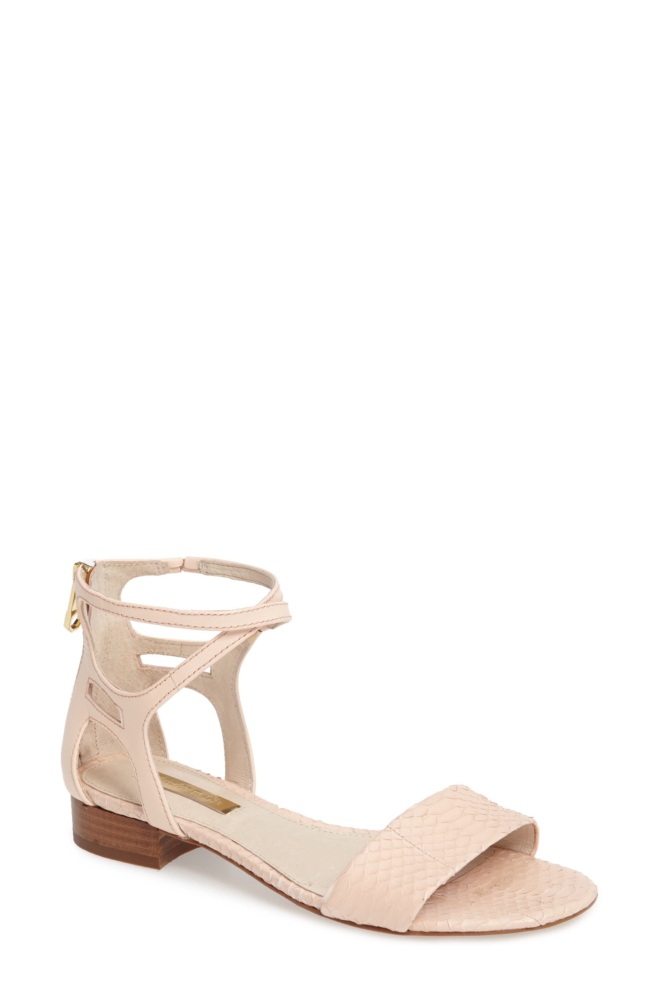 Adley Ankle Strap Sandal,                         Main,                         color, Mimosa Leather