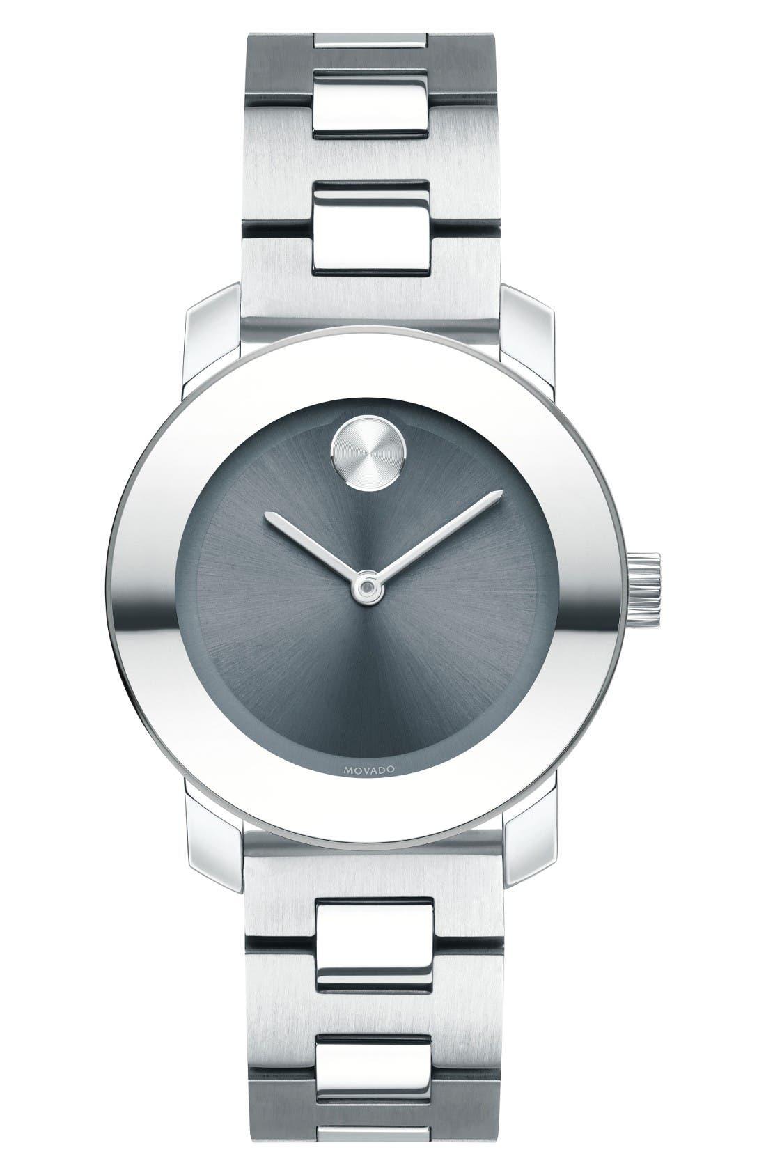 Bold Bracelet Watch, 30mm,                         Main,                         color, Silver/ Grey/ Silver