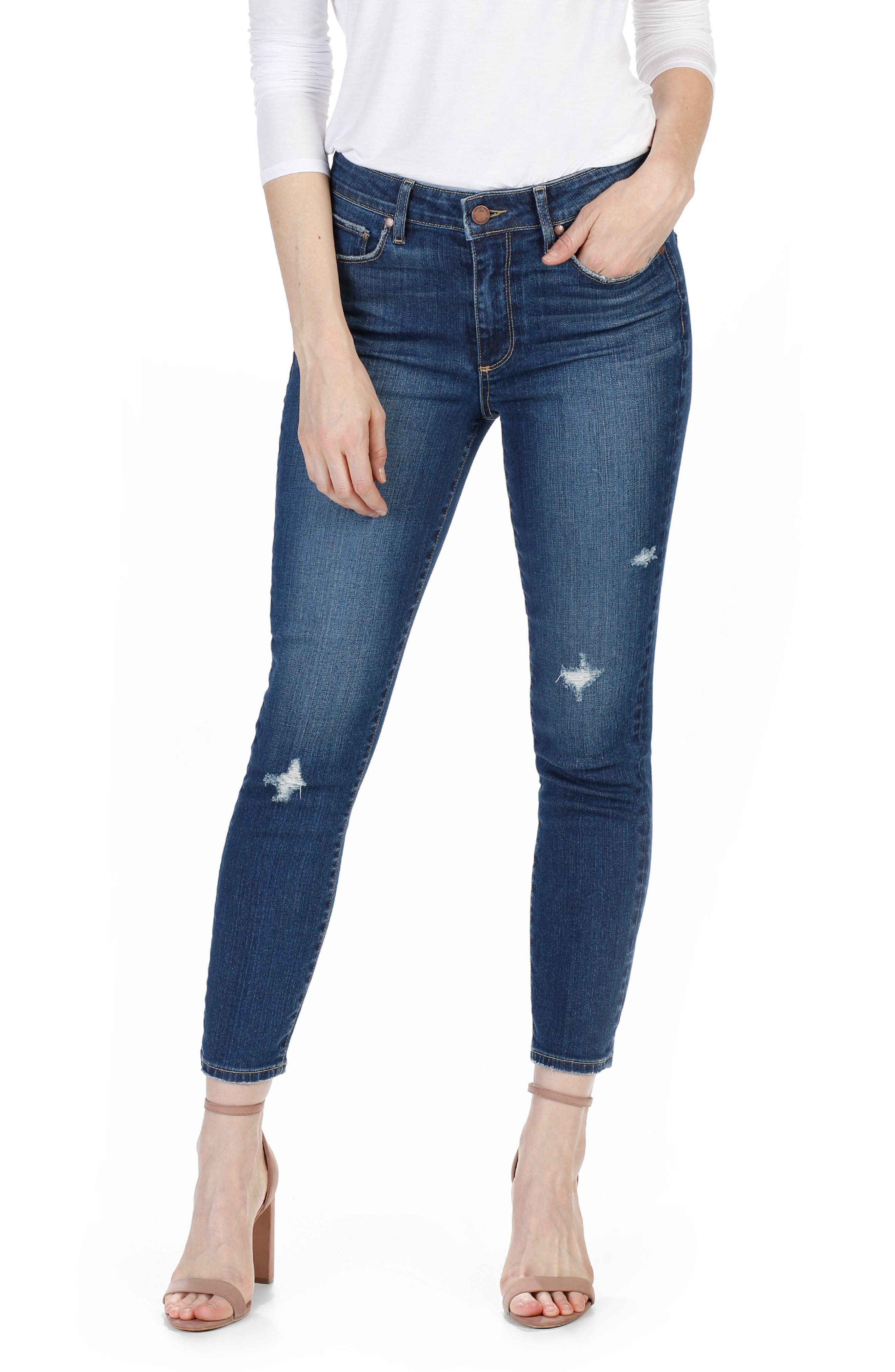 Hoxton High Waist Crop Ultra Skinny Jeans,                         Main,                         color, Finsbury Destructed