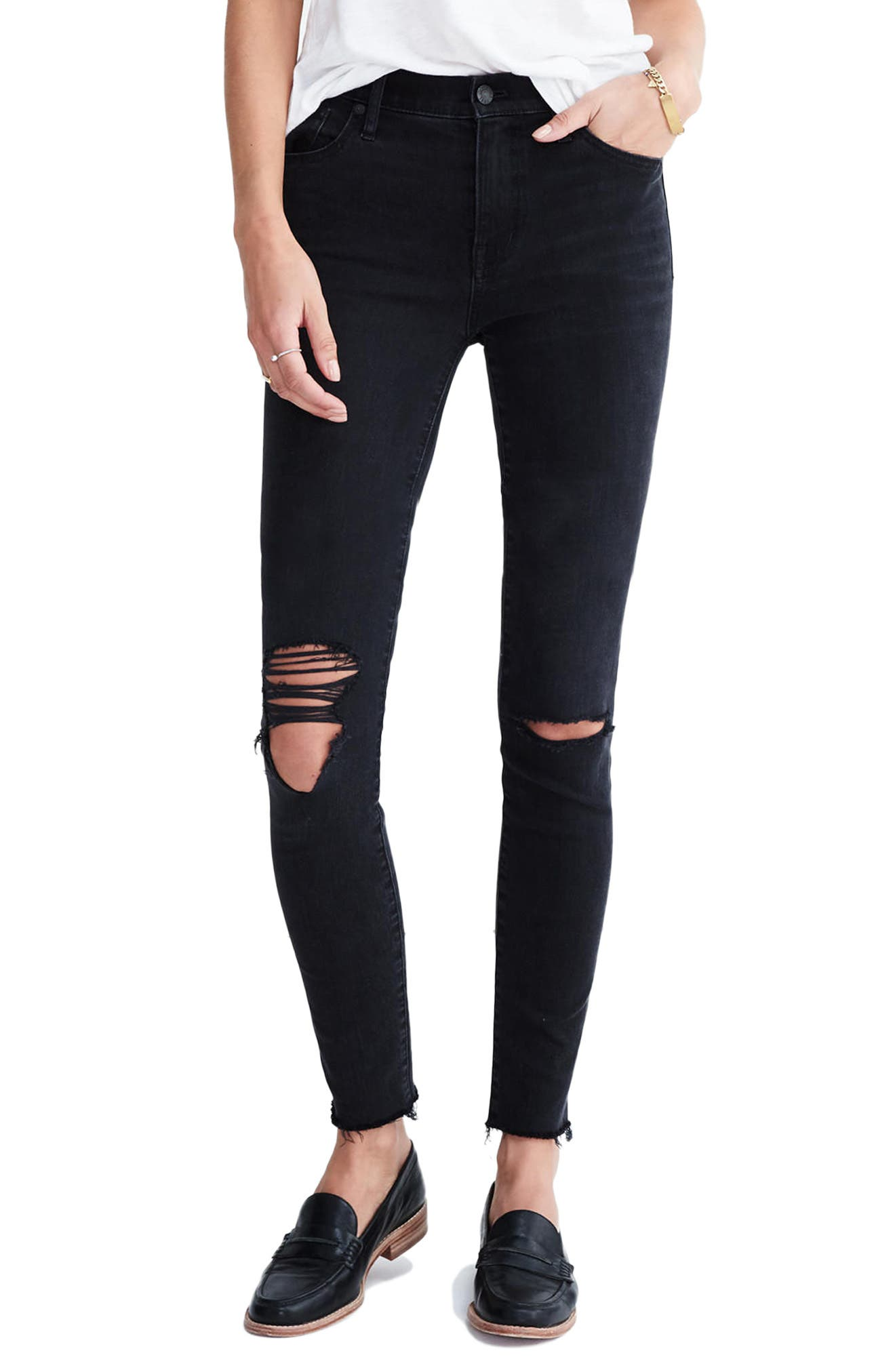 9-Inch High-Rise Skinny Jeans,                         Main,                         color, Black Sea