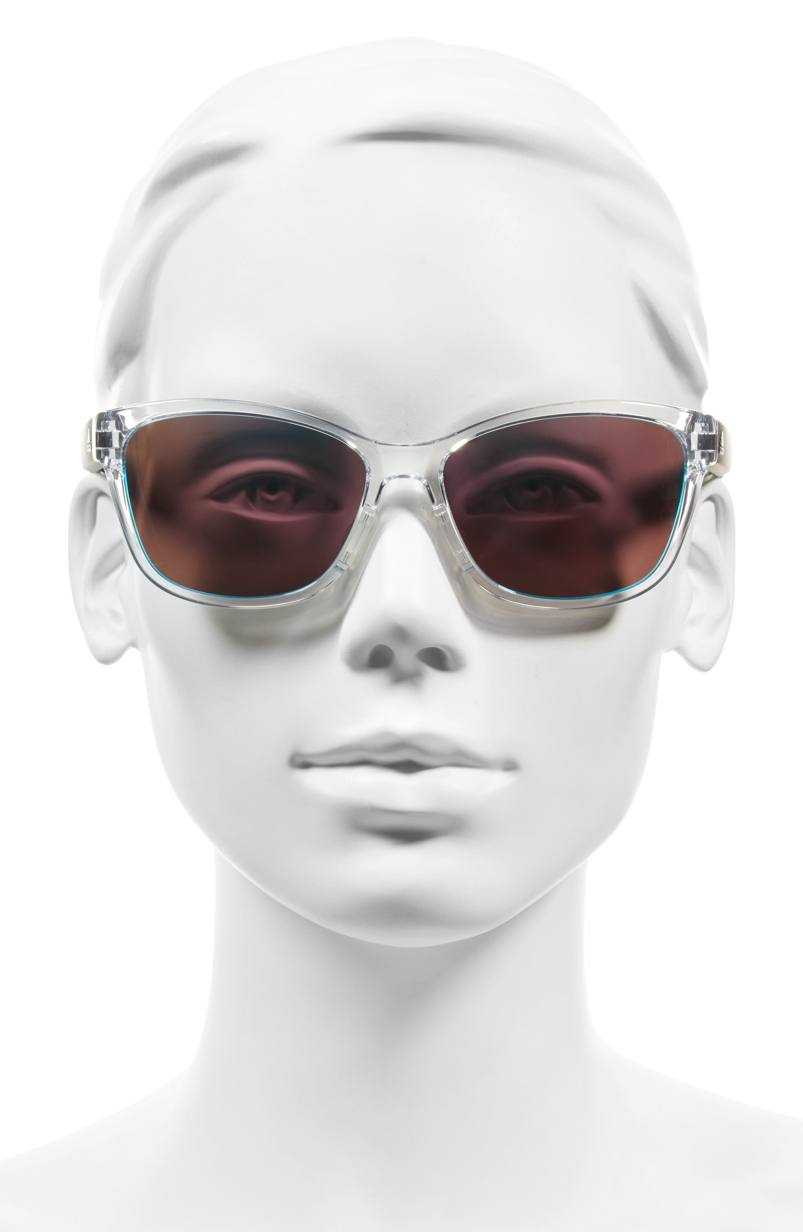 Excalate 58mm Mirrored Sunglasses,                             Alternate thumbnail 2, color,                             Crystal Clear/ Blue Mirror