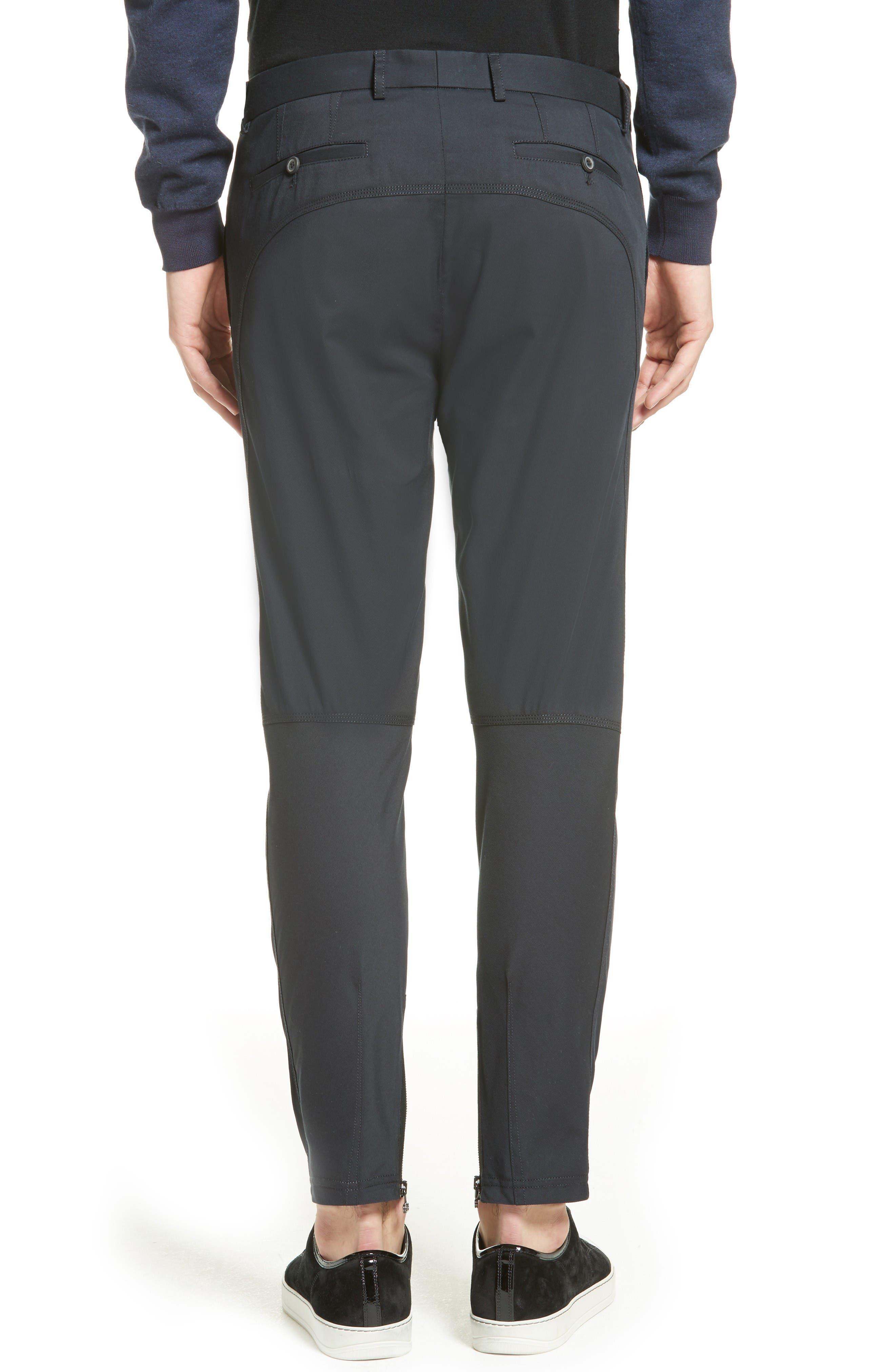 Cotton & Silk Biker Pants,                             Alternate thumbnail 2, color,                             Navy