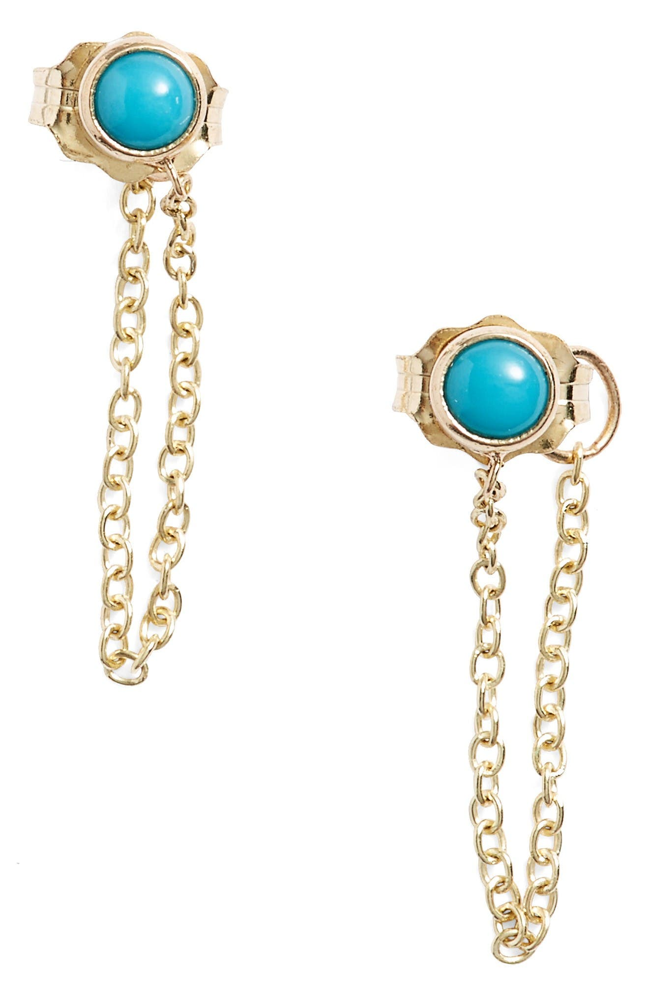 ZOË CHICCO Turquoise Chain Earrings