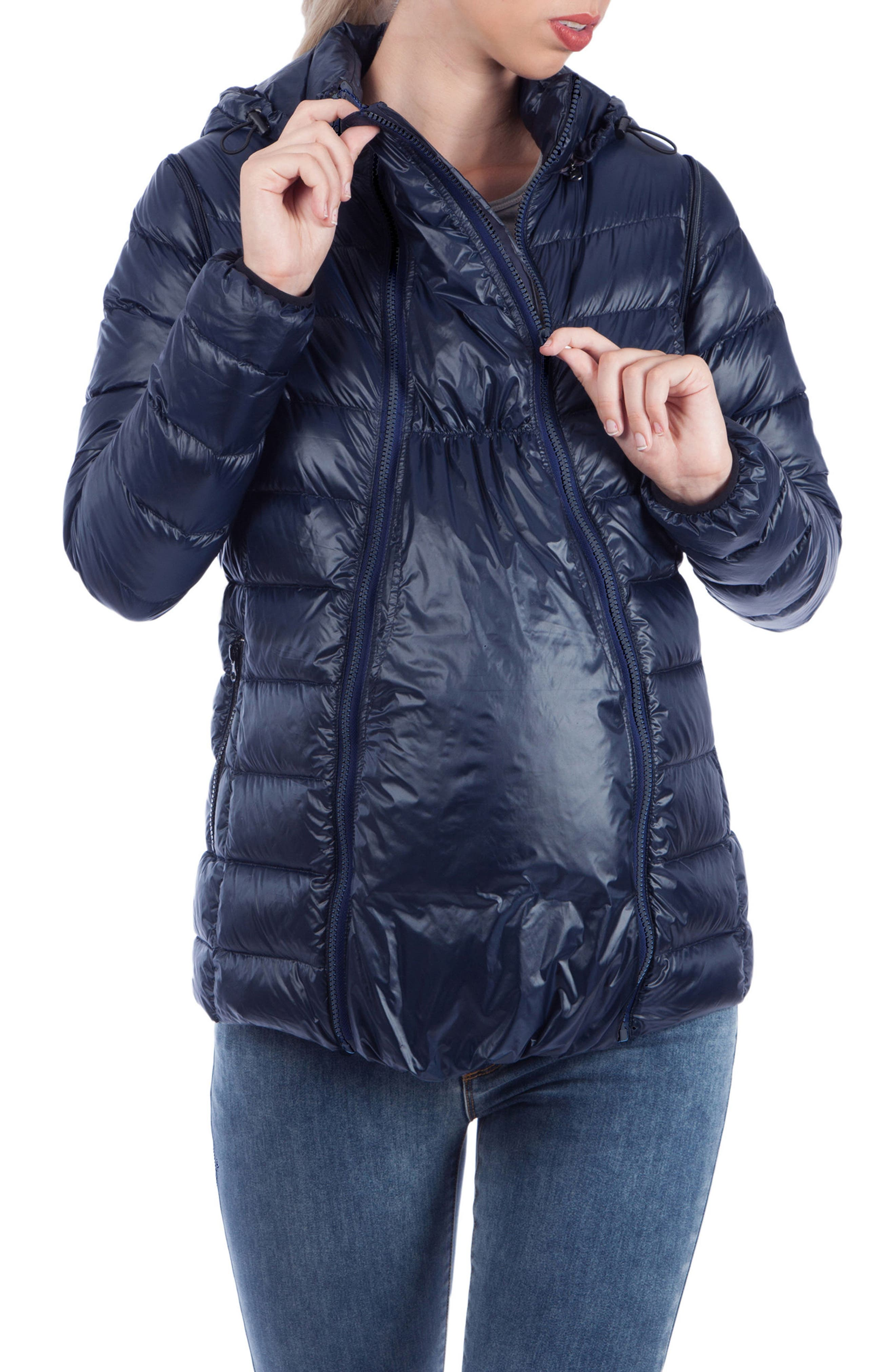 Alternate Image 5  - Modern Eternity Lightweight Puffer Convertible Maternity Jacket
