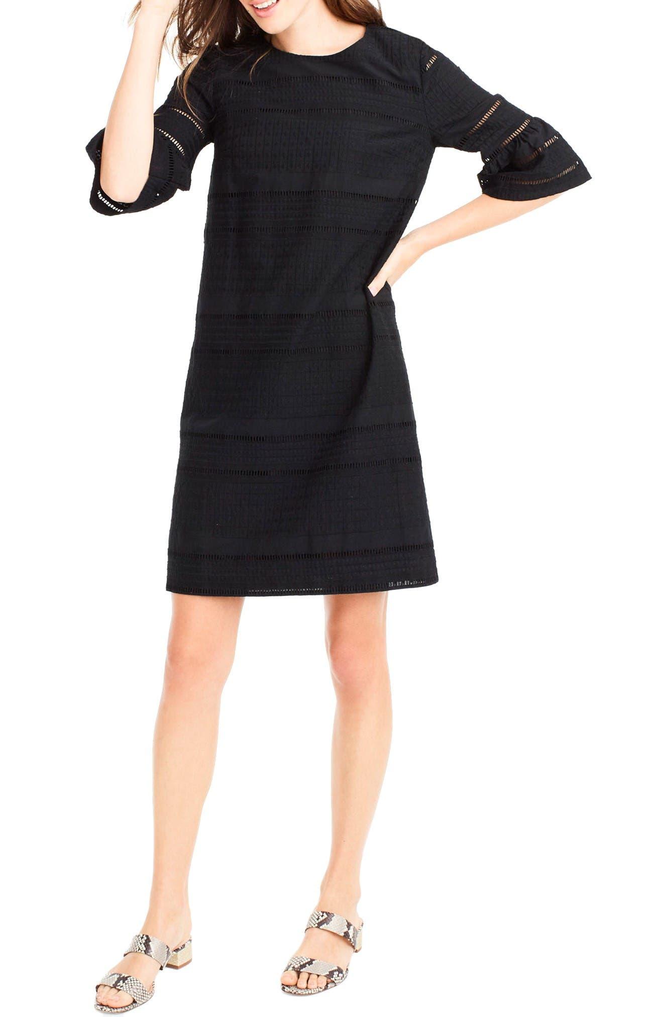Flutter Sleeve Eyelet Shift Dress,                             Main thumbnail 1, color,                             Black