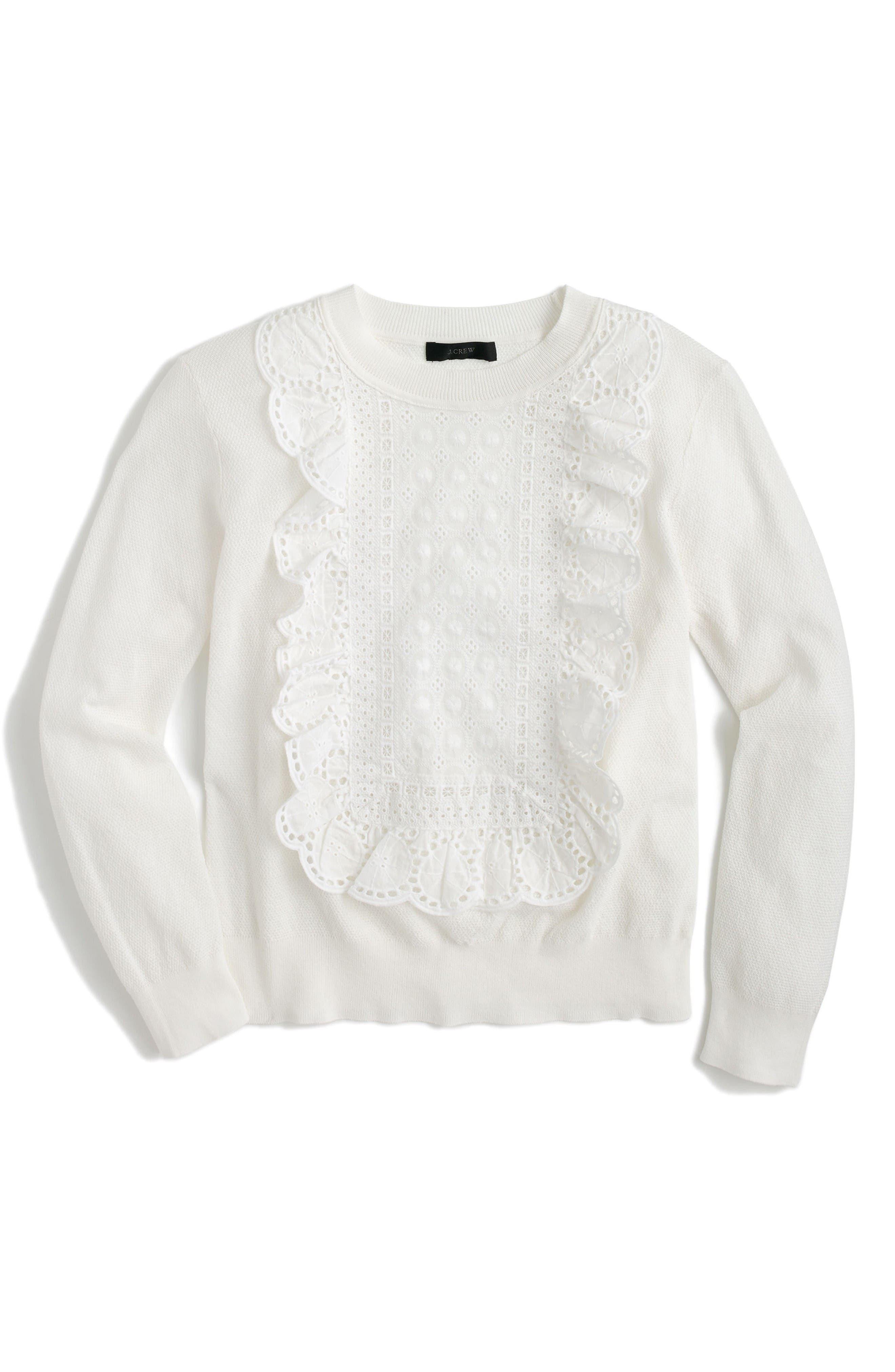 Alternate Image 1 Selected - J.Crew Lara Lace Bib Pullover