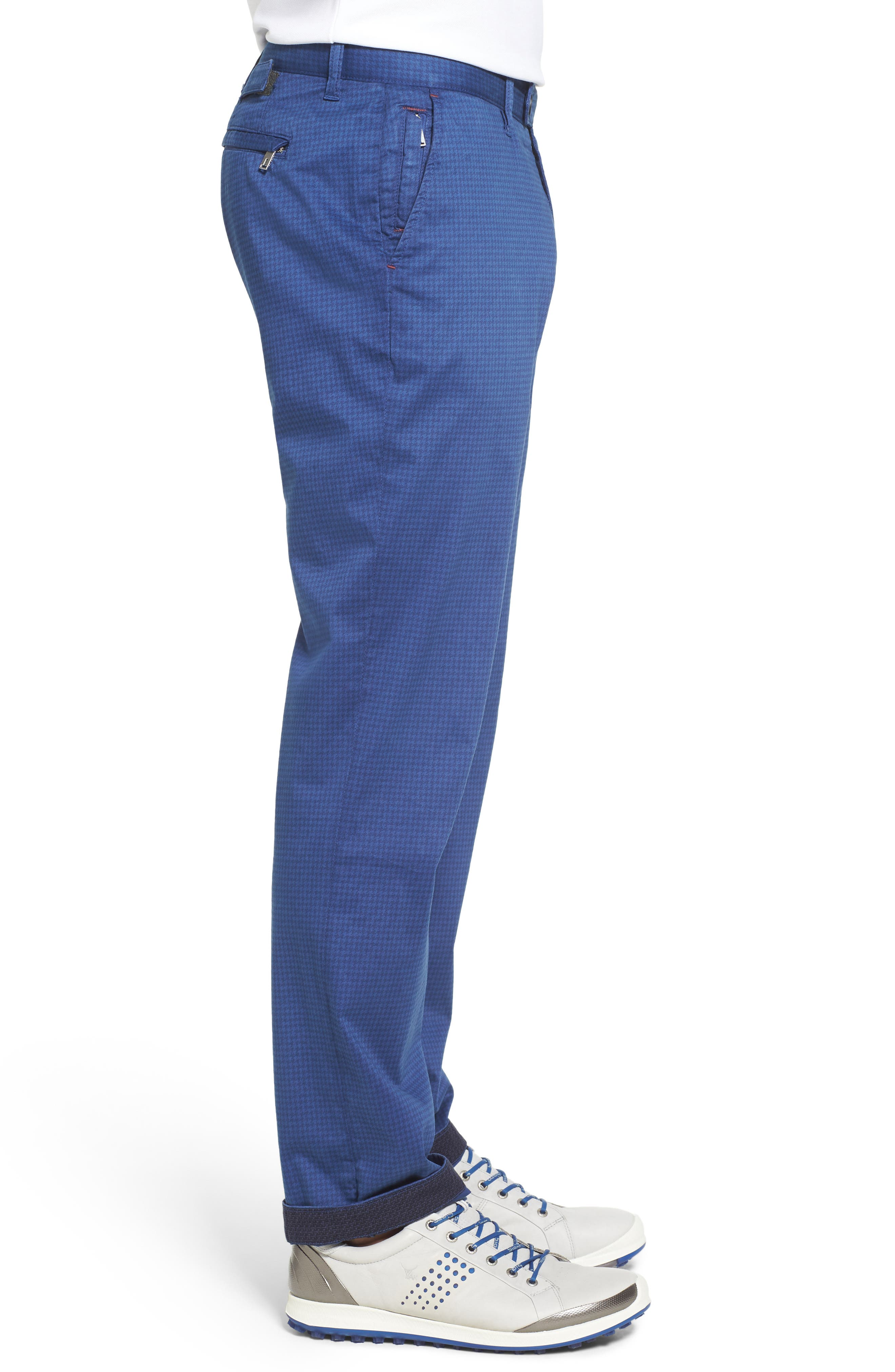 Houndstooth Print Golf Chinos,                             Alternate thumbnail 3, color,                             Blue