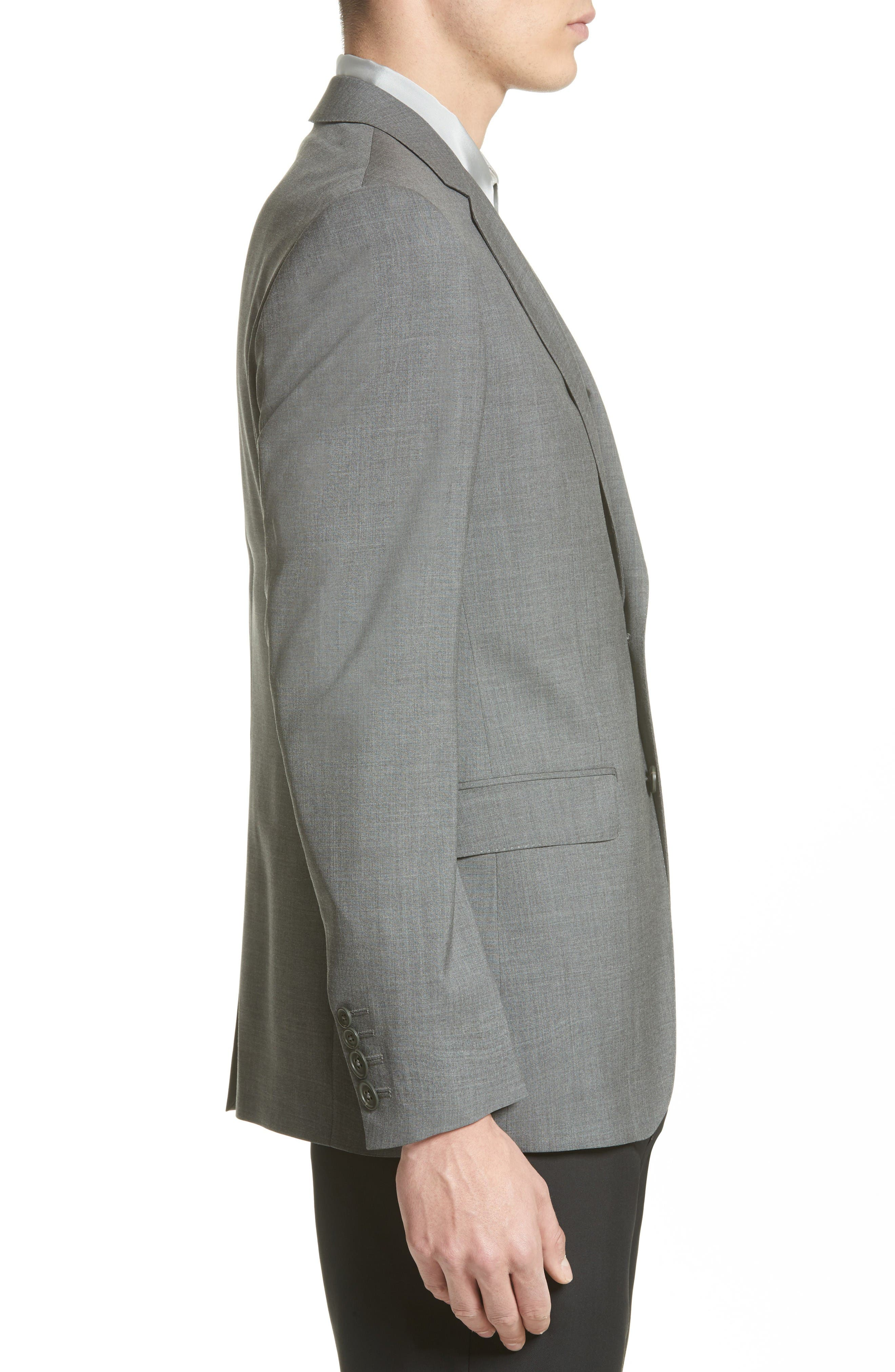 Tropical Wool Suit Jacket,                             Alternate thumbnail 3, color,                             Grey