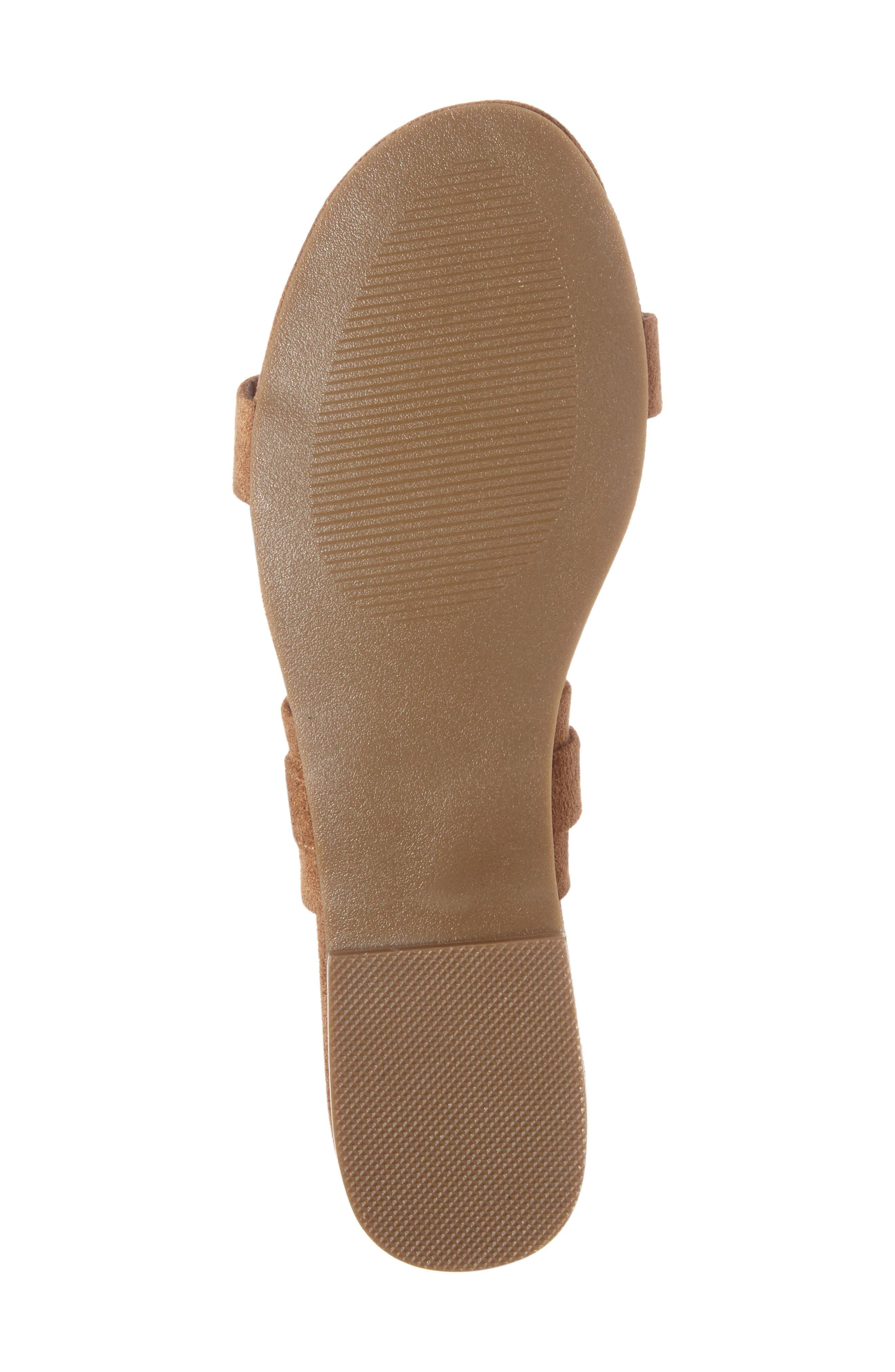 Brantley Buckle Slide Sandal,                             Alternate thumbnail 4, color,                             Saddle Suede