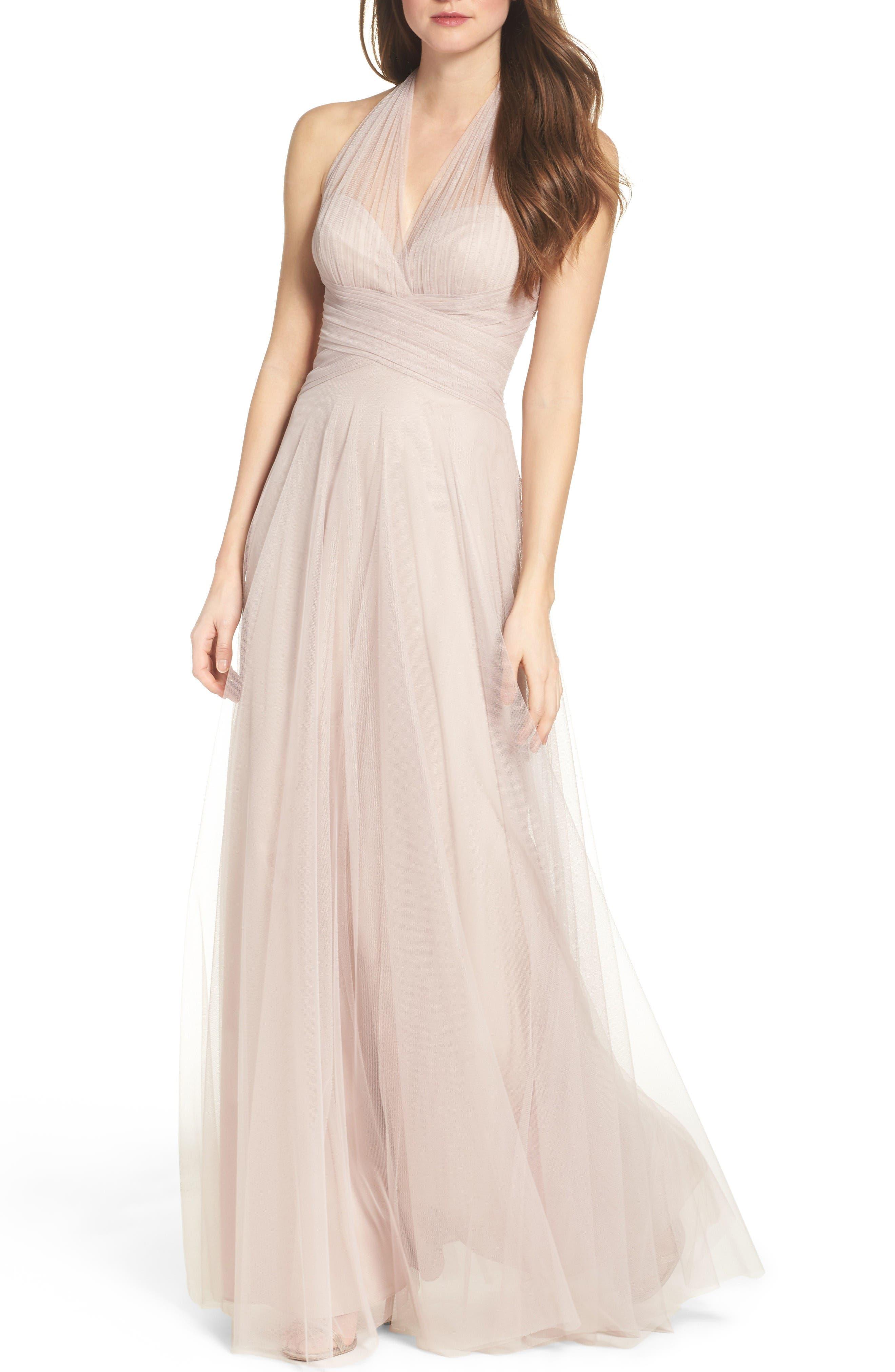 Halter Tulle A-Line Gown,                             Main thumbnail 1, color,                             Latte