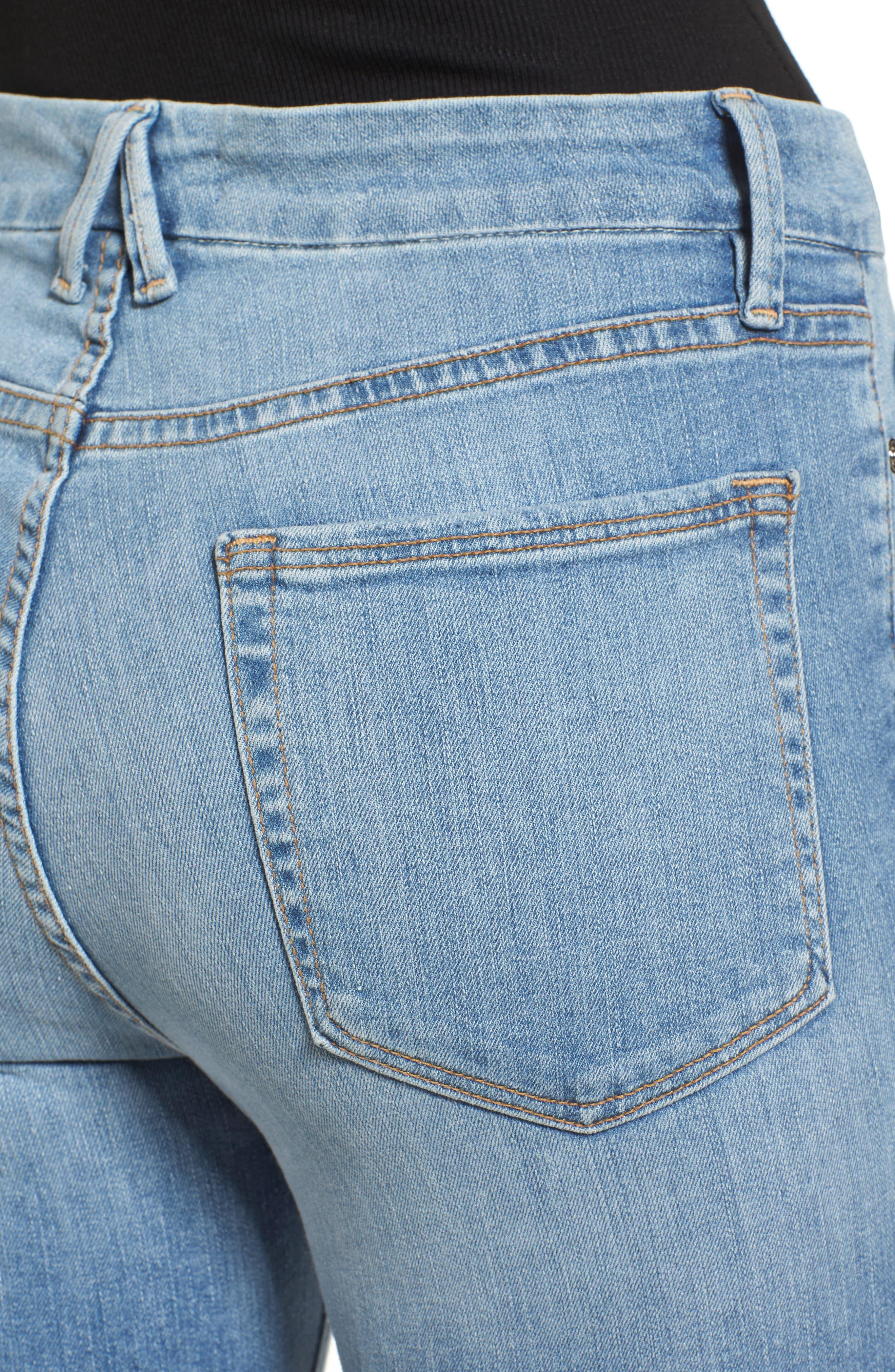 Good Legs Released Hem Skinny Jeans,                             Alternate thumbnail 4, color,                             Blue 023