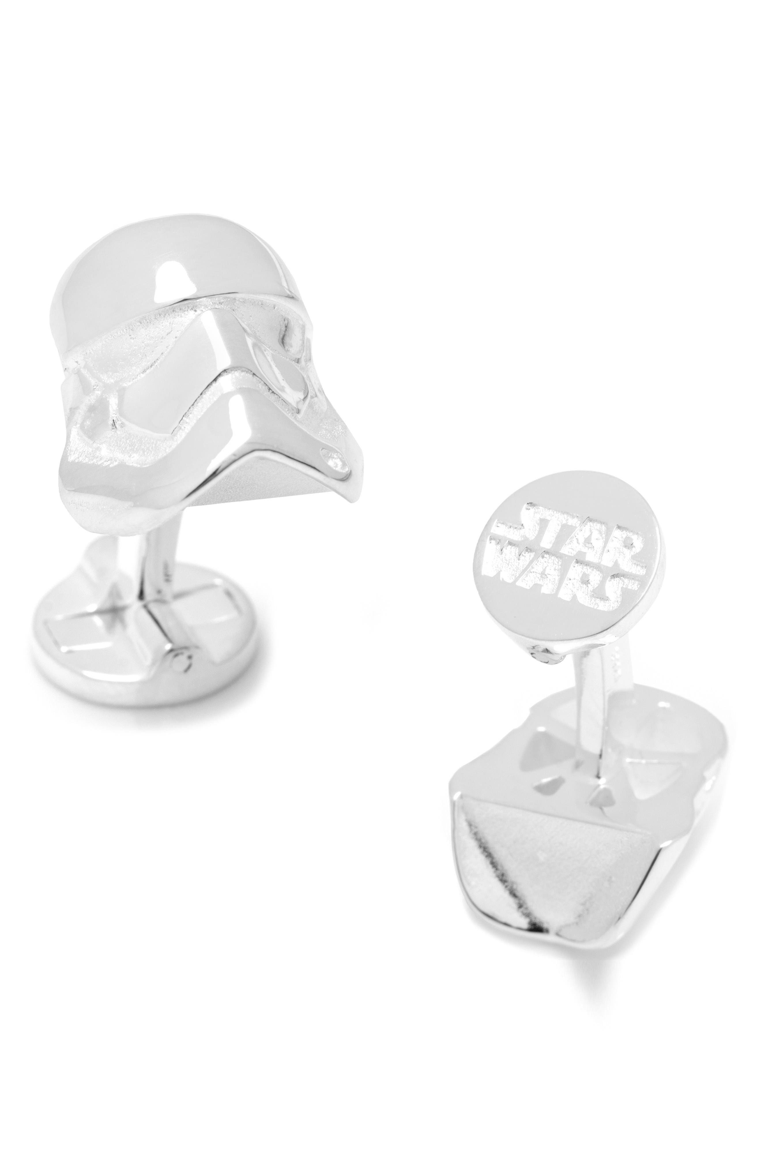 Star Wars<sup>™</sup> Stormtrooper Cuff Links,                             Main thumbnail 1, color,                             Silver
