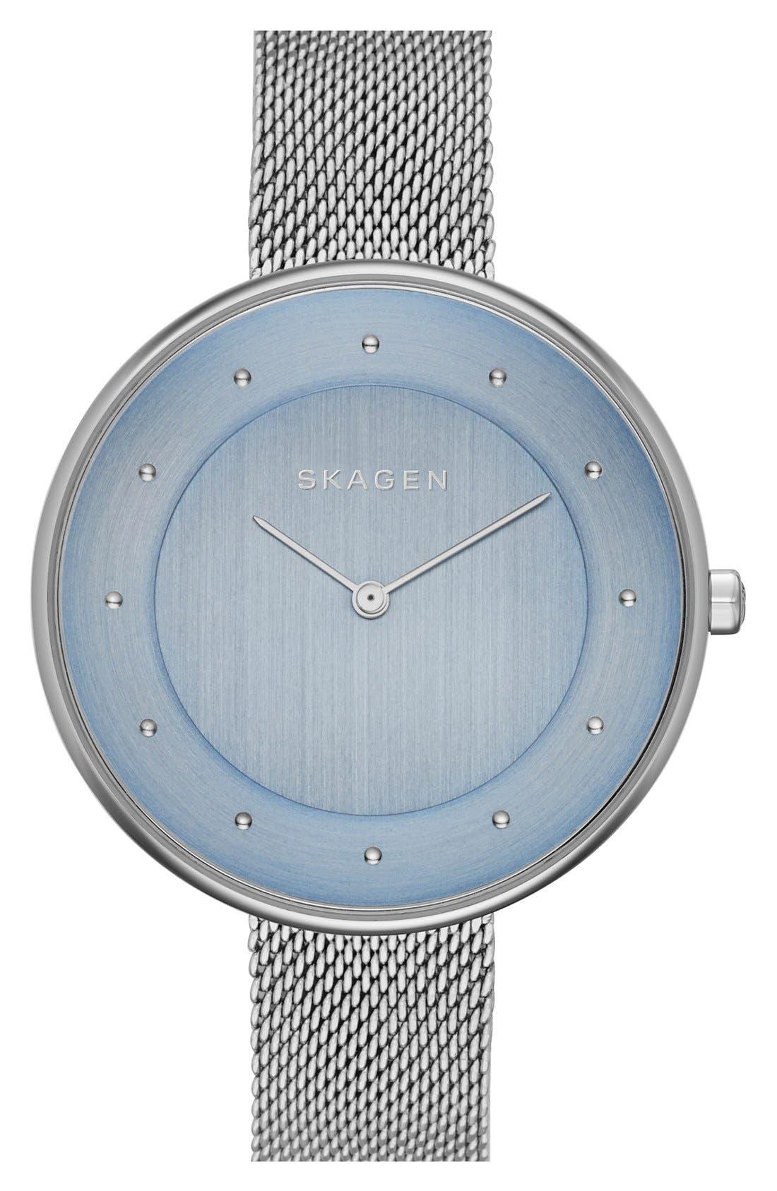Alternate Image 1 Selected - Skagen 'Gitte' Round Slim Mesh Strap Watch, 38mm