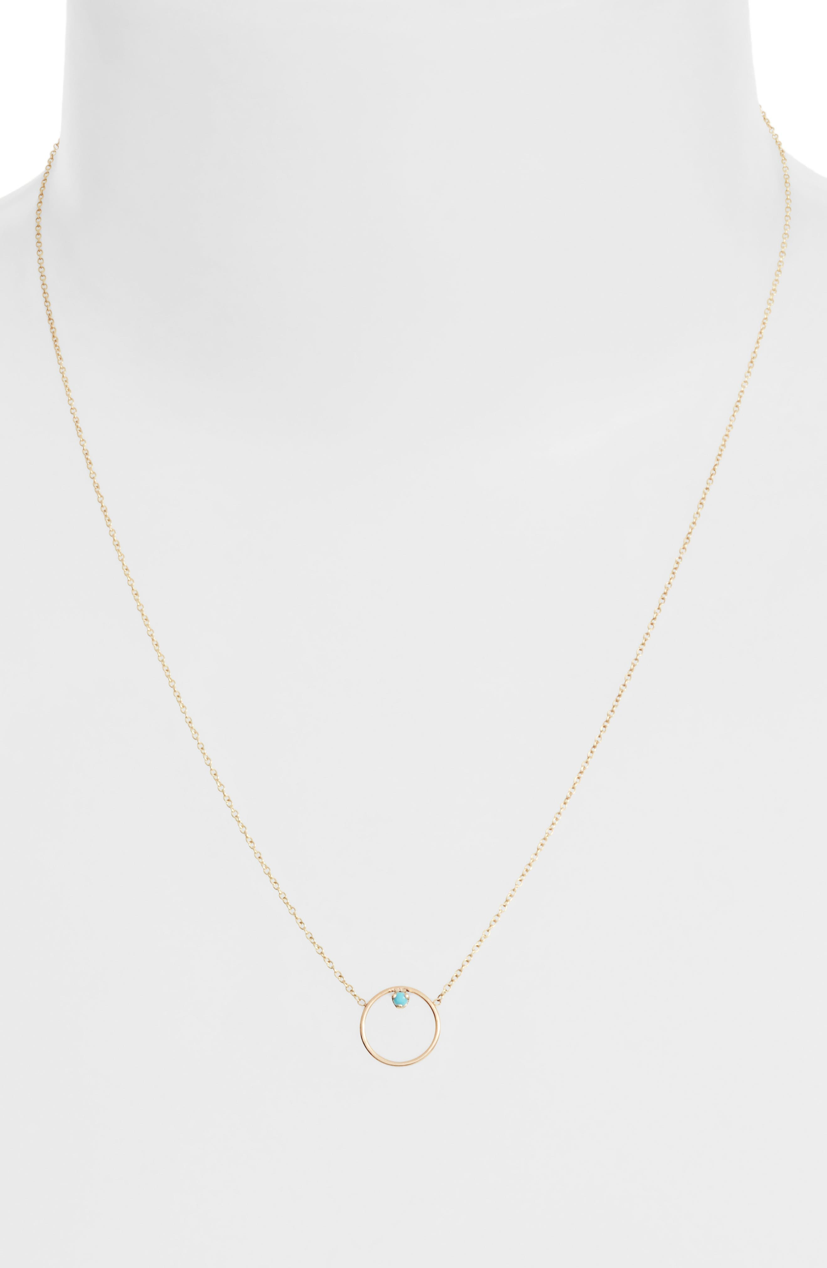 Alternate Image 2  - Zoë Chicco Turquoise Circle Pendant Necklace