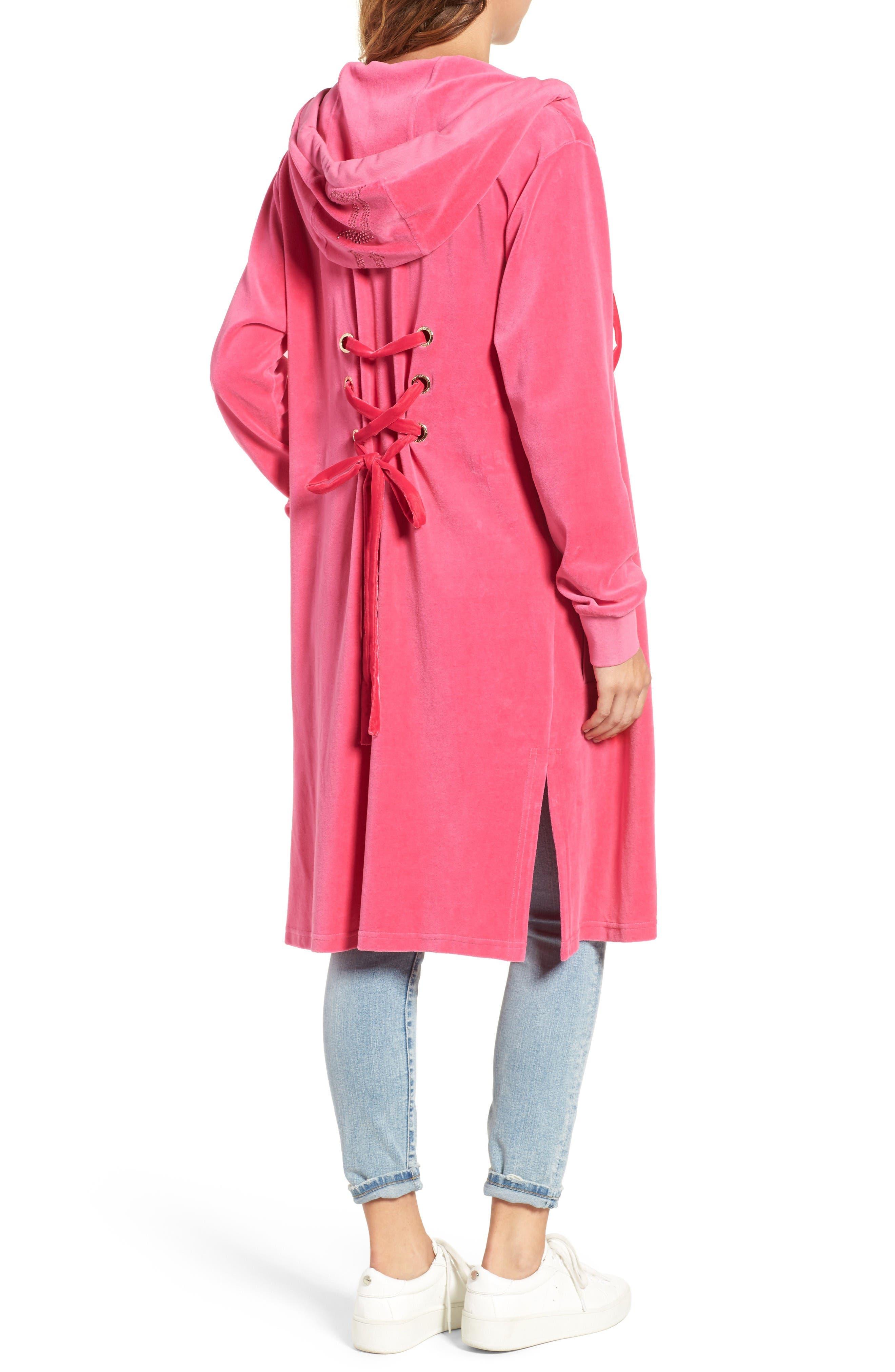 Alternate Image 2  - Juicy Couture Longline Velour Hoodie