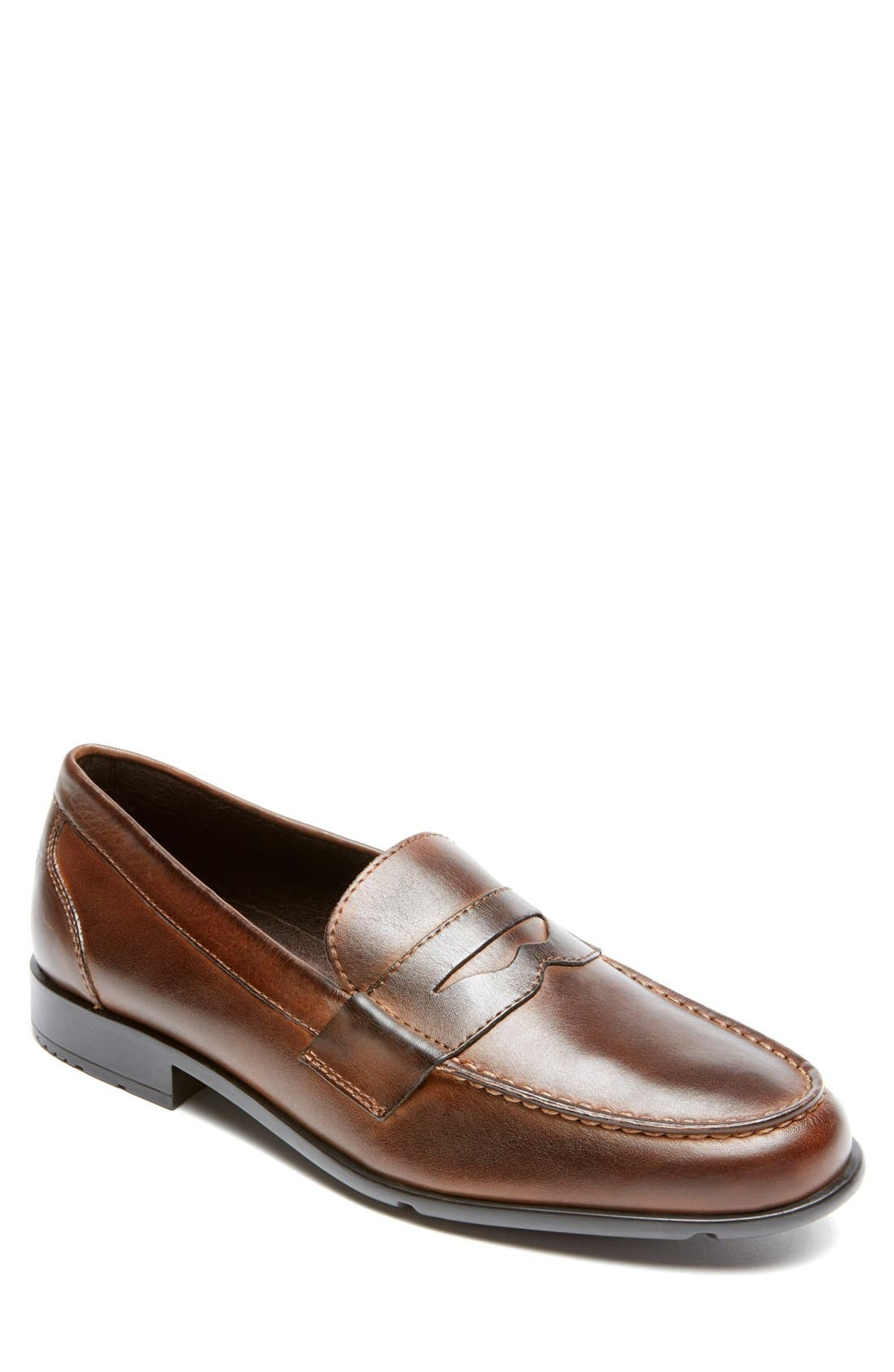 Leather Penny Loafer,                             Main thumbnail 1, color,                             Brown