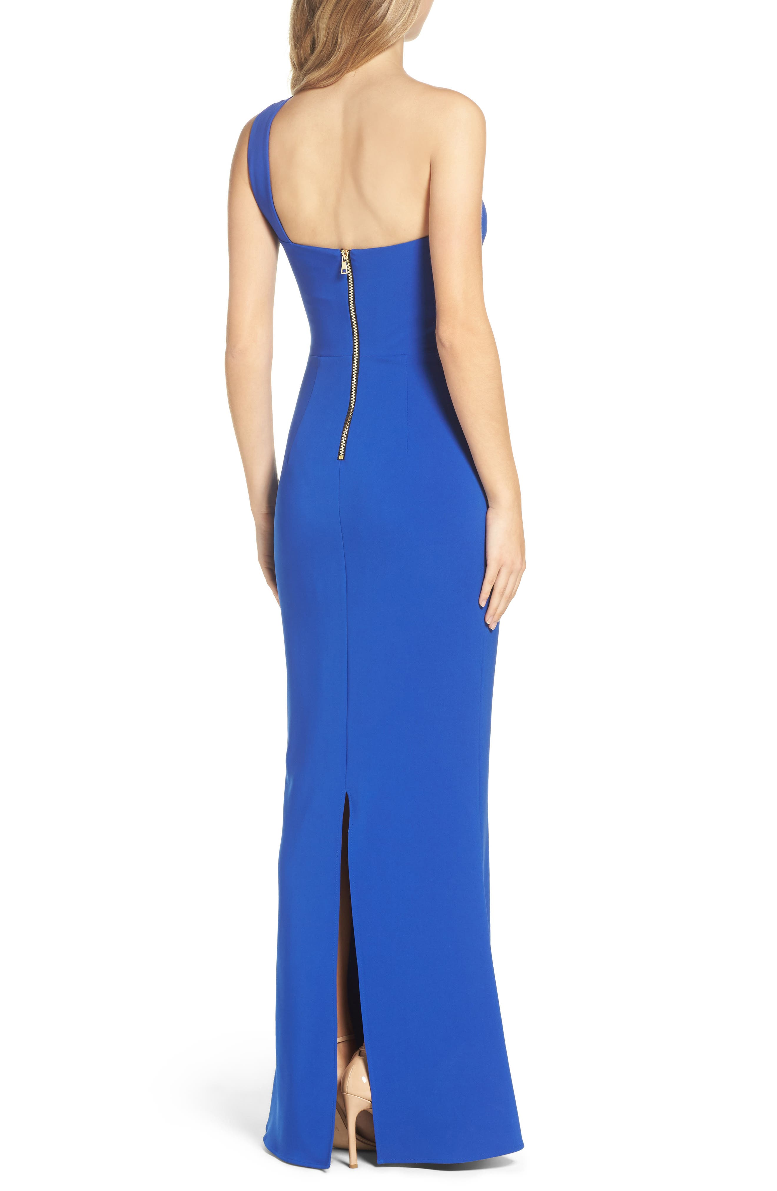 Alternate Image 2  - Maria Bianca Nero Colorblock Ruffle One-Shoulder Gown