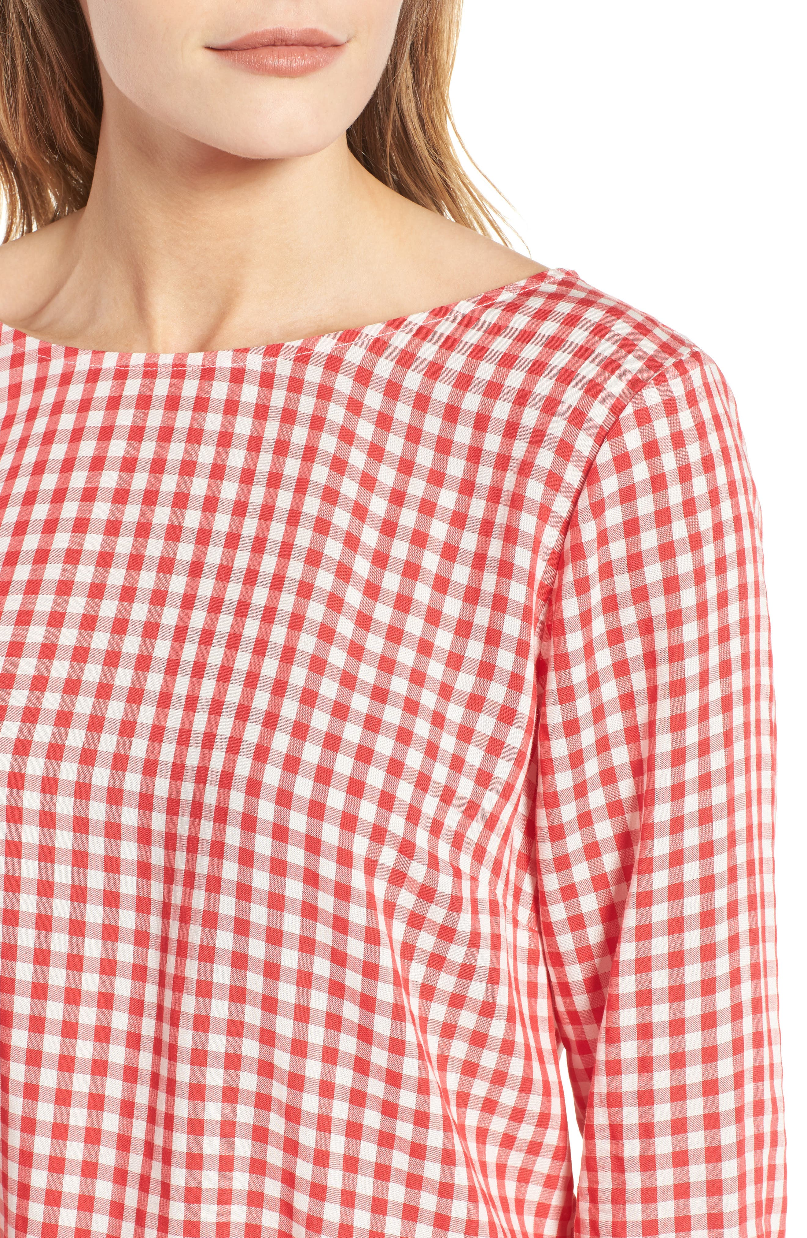 Ruffled Check Blouse,                             Alternate thumbnail 4, color,                             Red