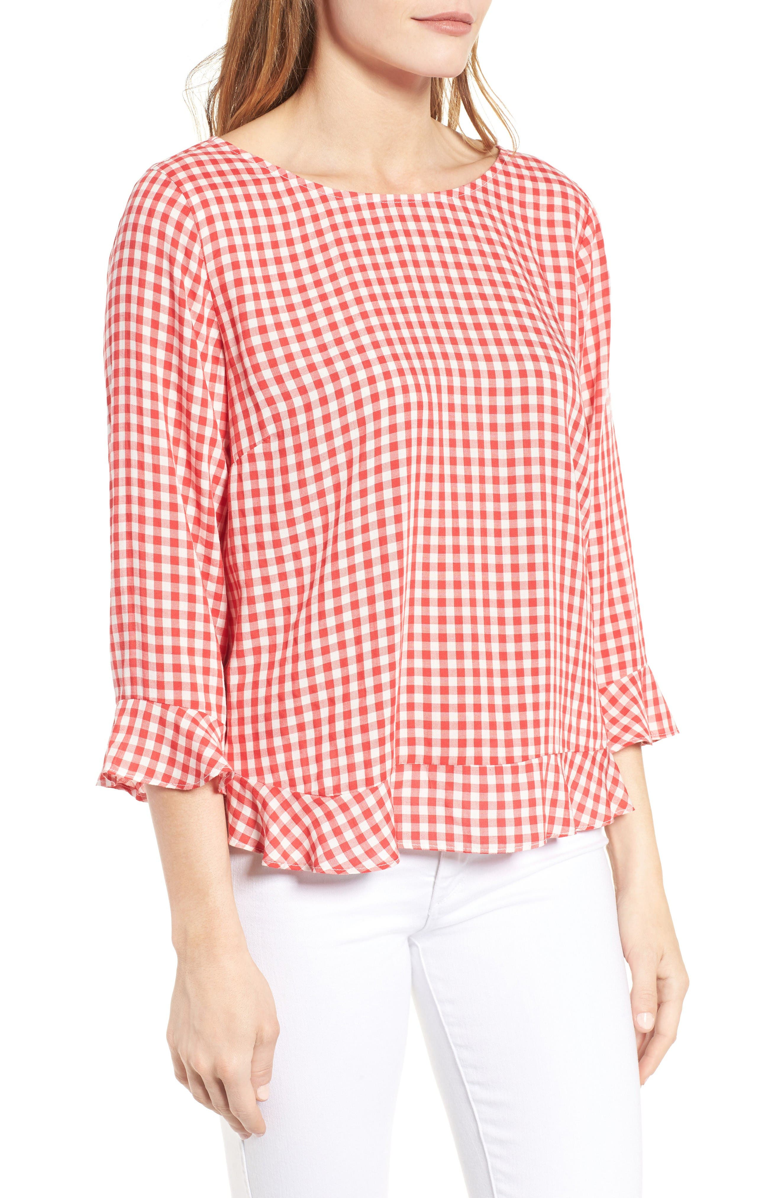 Ruffled Check Blouse,                             Alternate thumbnail 3, color,                             Red