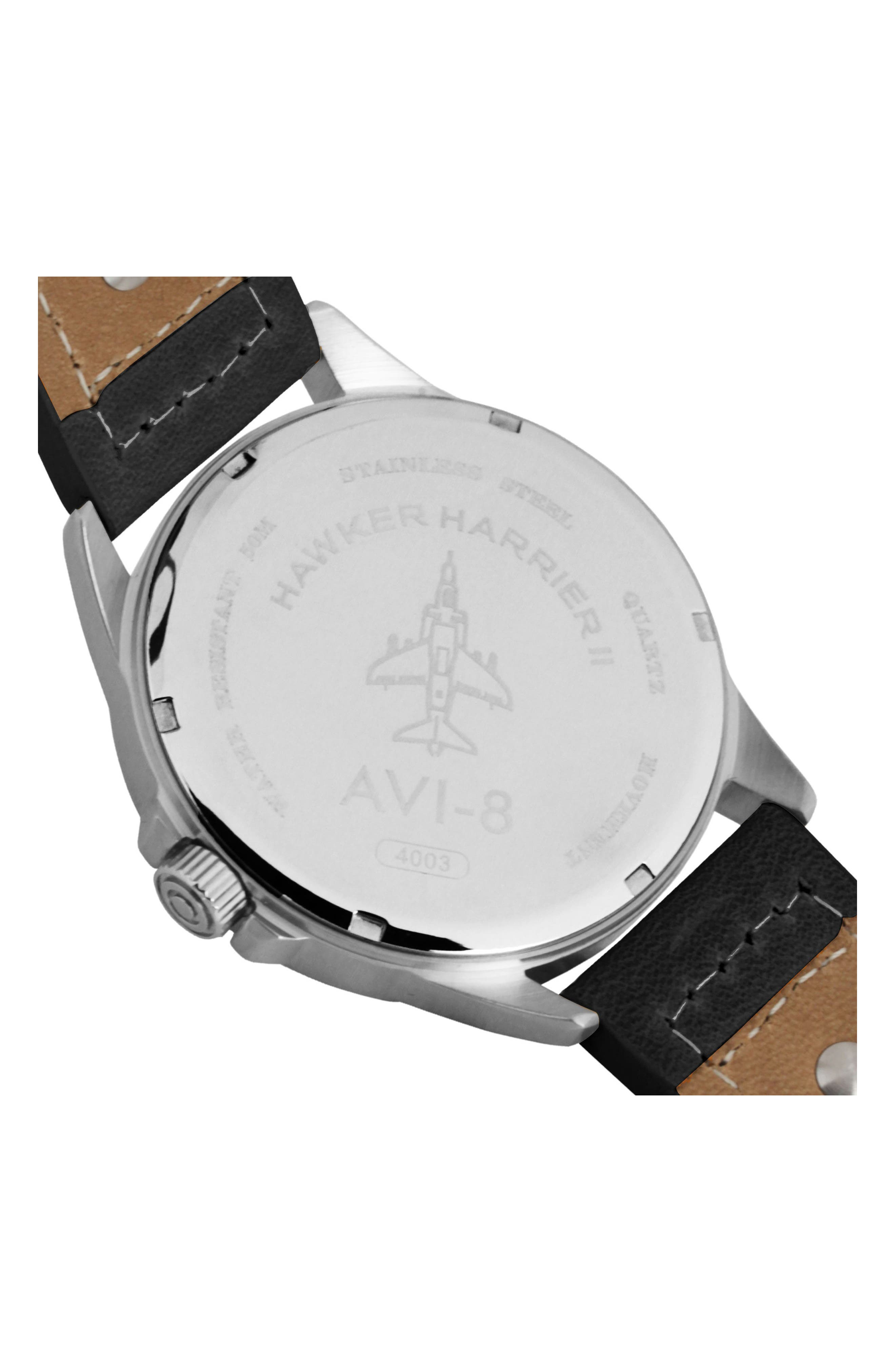 Hawker Harrier II Leather Strap Watch, 45mm,                             Alternate thumbnail 2, color,                             White/ Charcoal