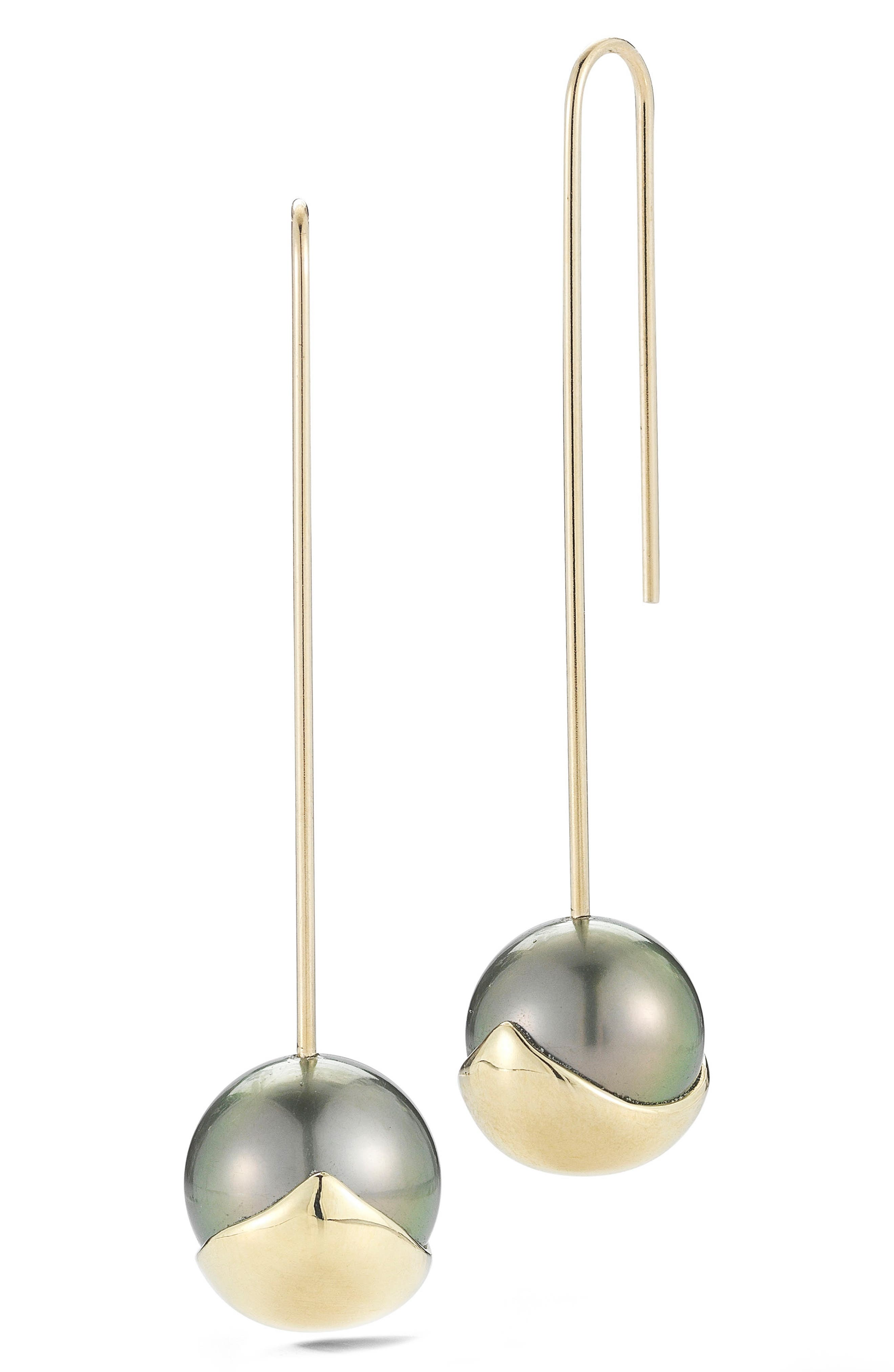 Sea of Beauty Pearl Drop Earrings,                             Main thumbnail 1, color,                             Yellow Gold/ Black Pearl