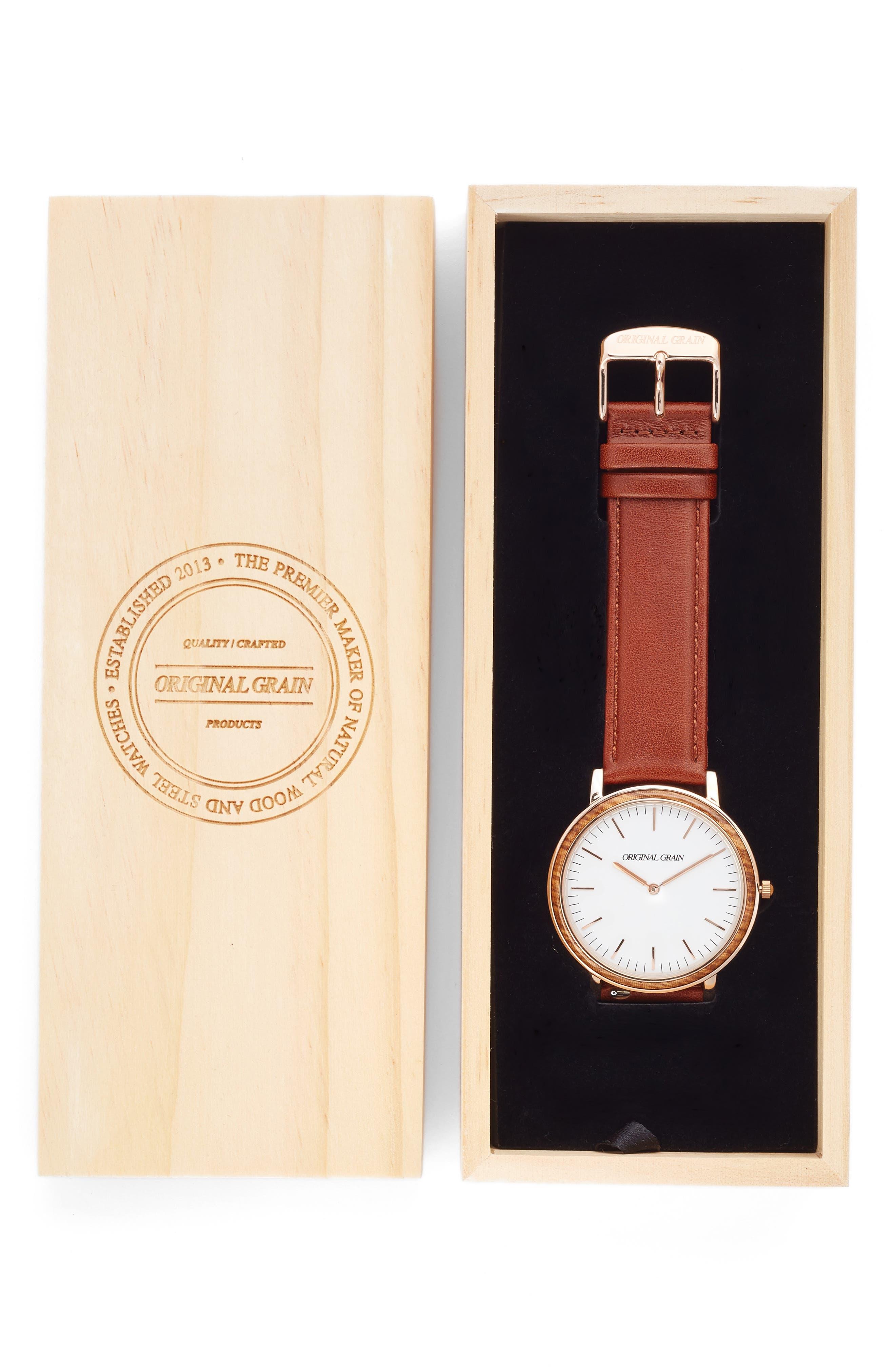 Alternate Image 4  - Original Grain Minimalist Leather Strap Watch, 40mm
