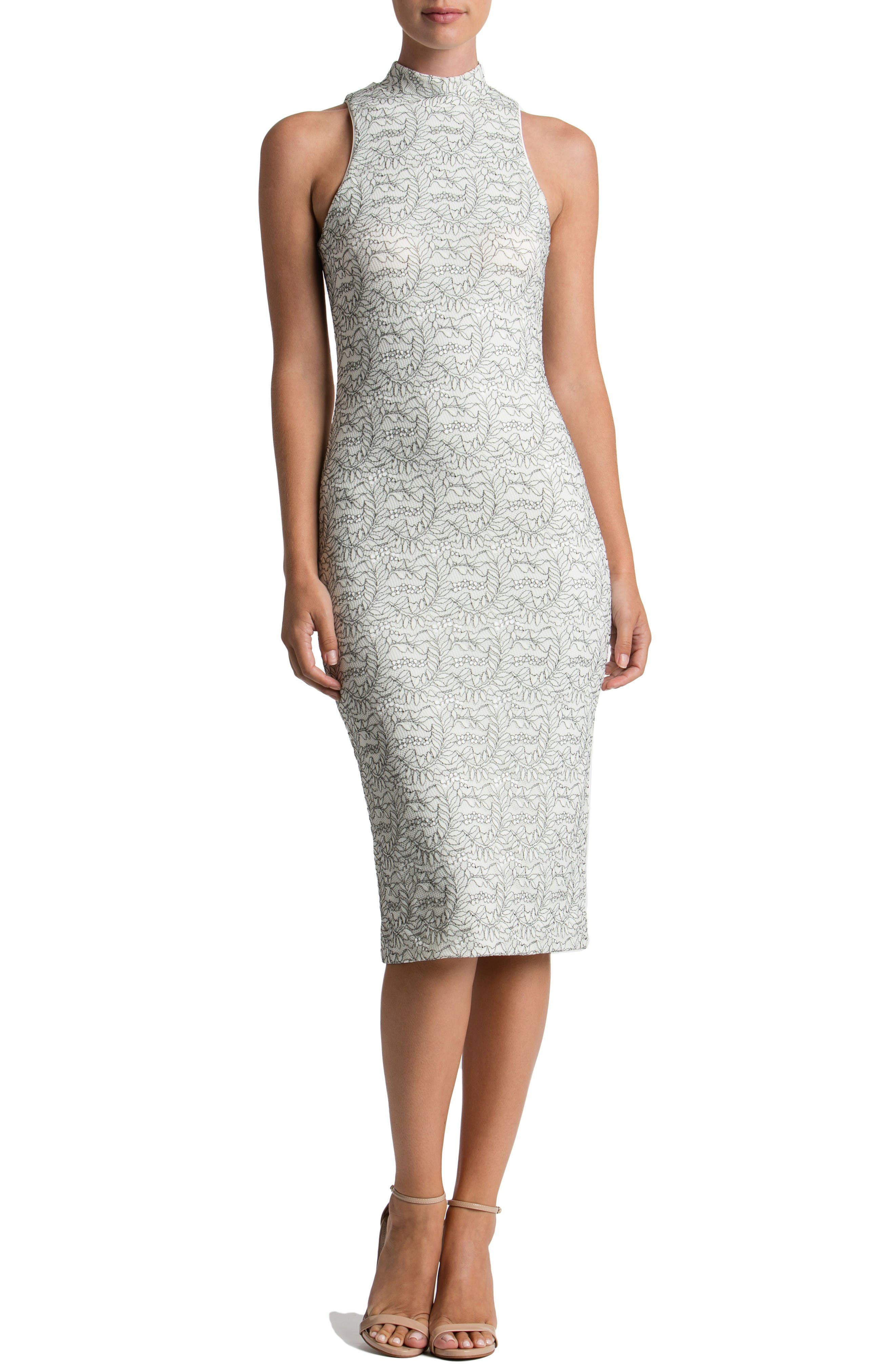 Norah Lace Midi Dress,                         Main,                         color, Off White/ Black