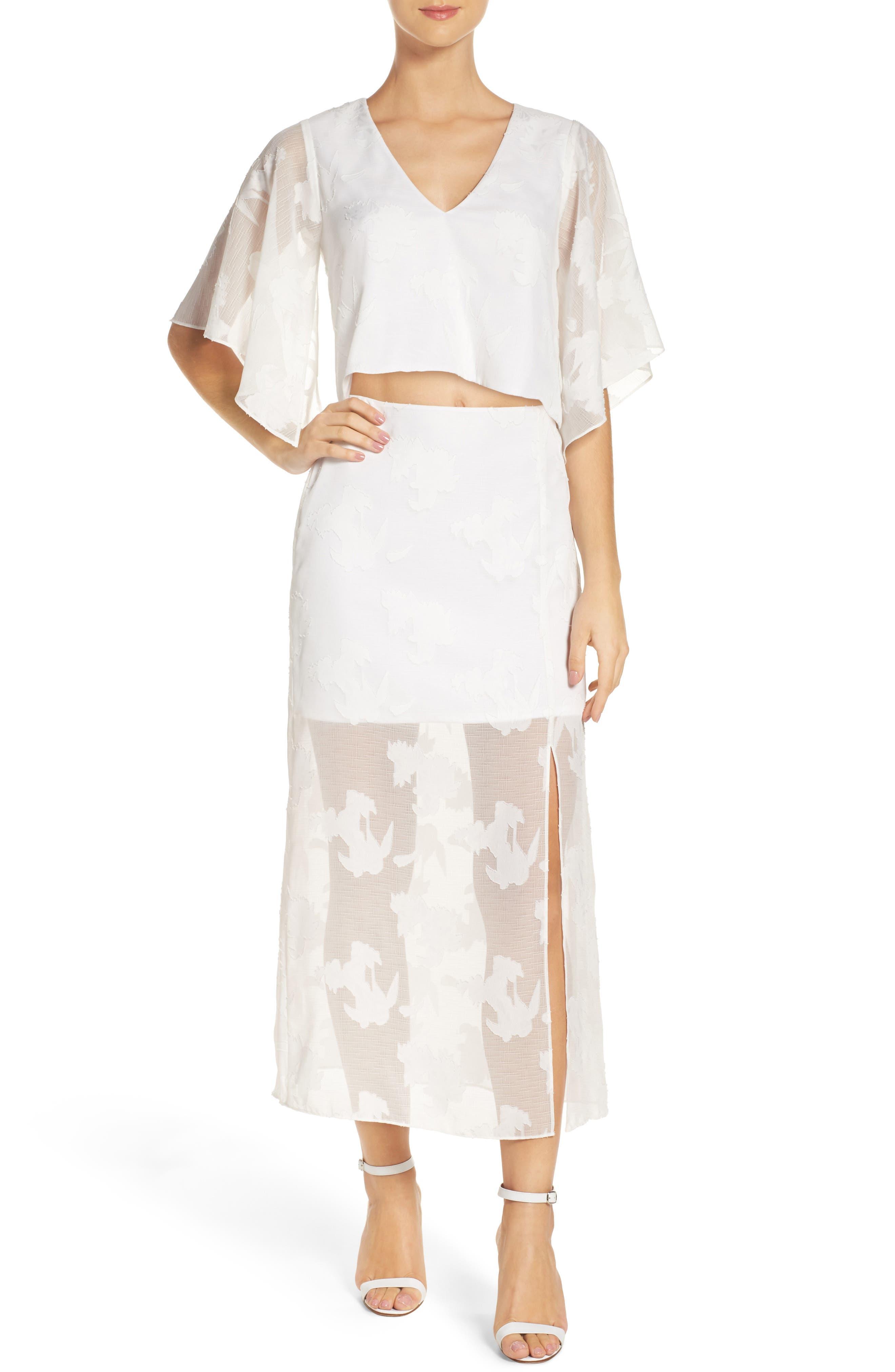 Two-Piece Dress,                             Main thumbnail 1, color,                             White Floral