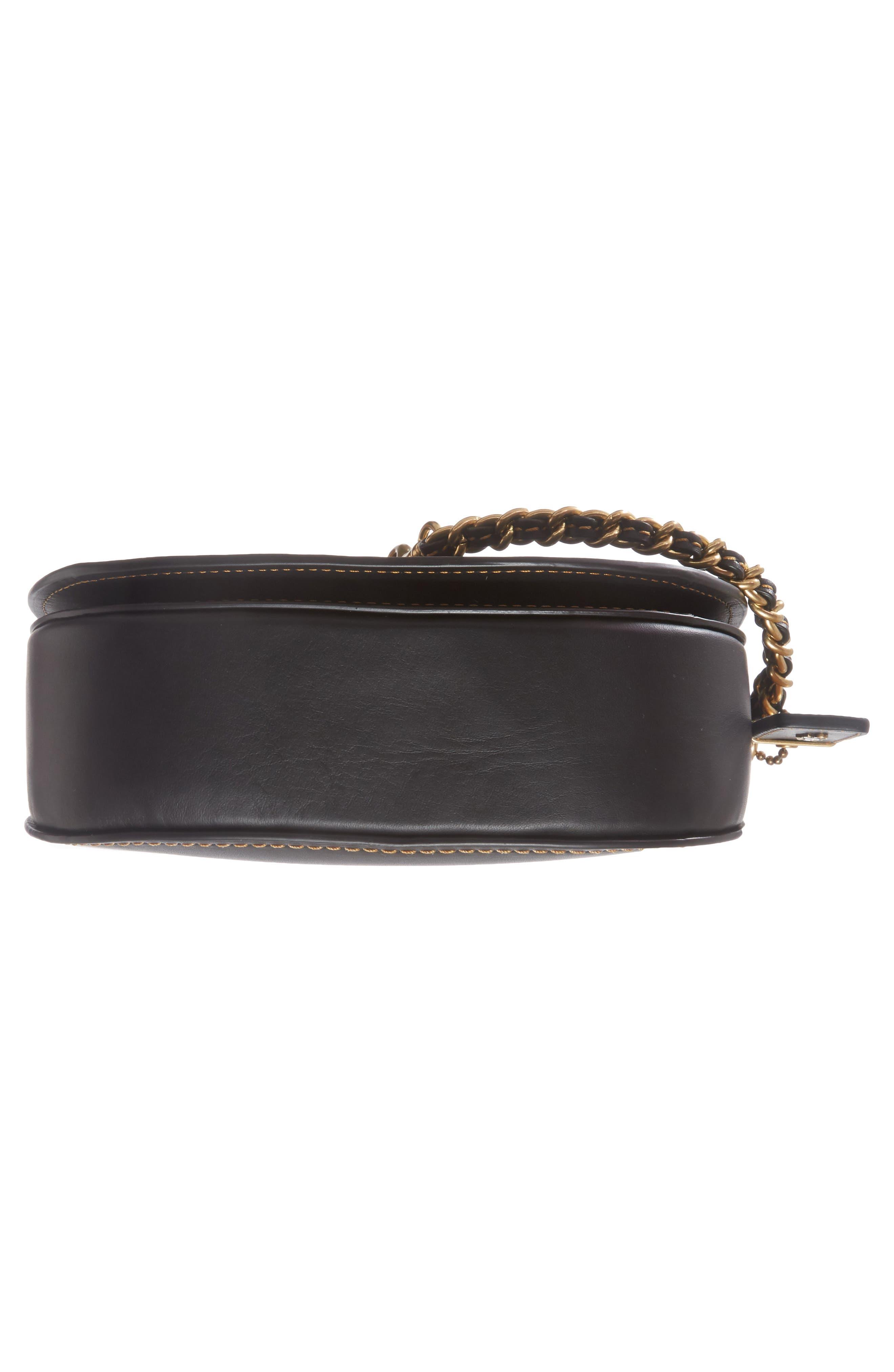 Leather Saddle Bag,                             Alternate thumbnail 5, color,                             Black