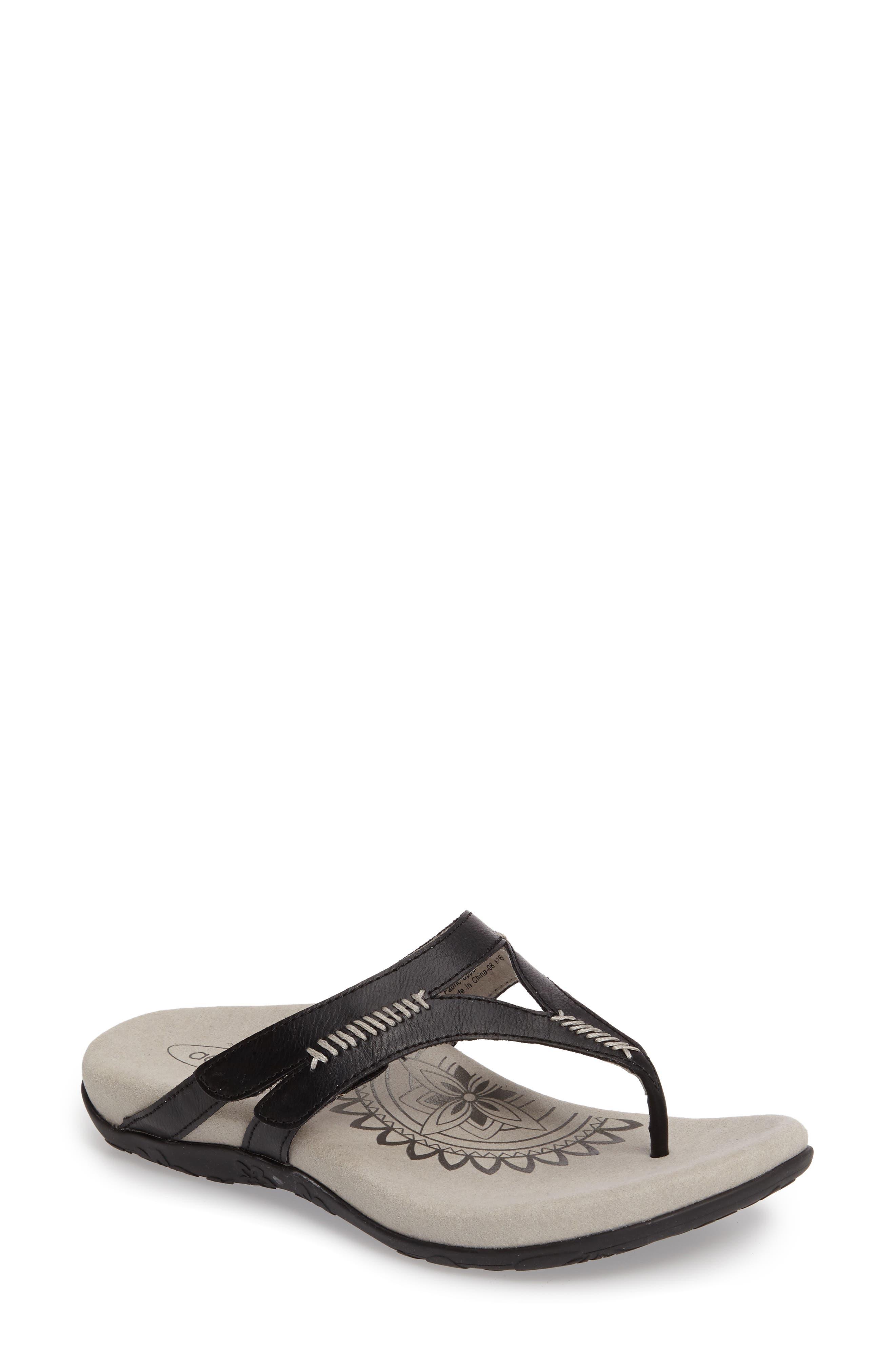Celia Flip Flop,                         Main,                         color, Black Leather
