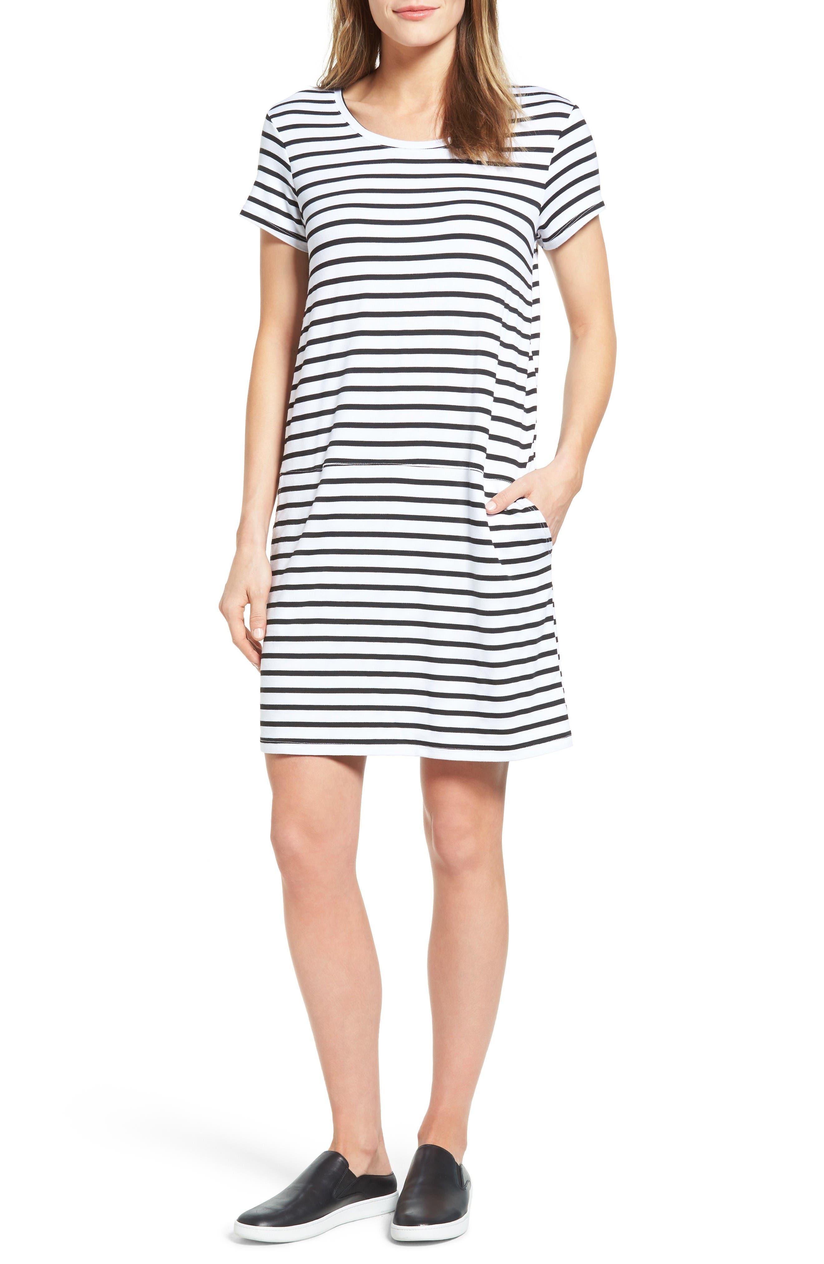 Knit Shift Dress,                             Main thumbnail 1, color,                             White- Black Stripe