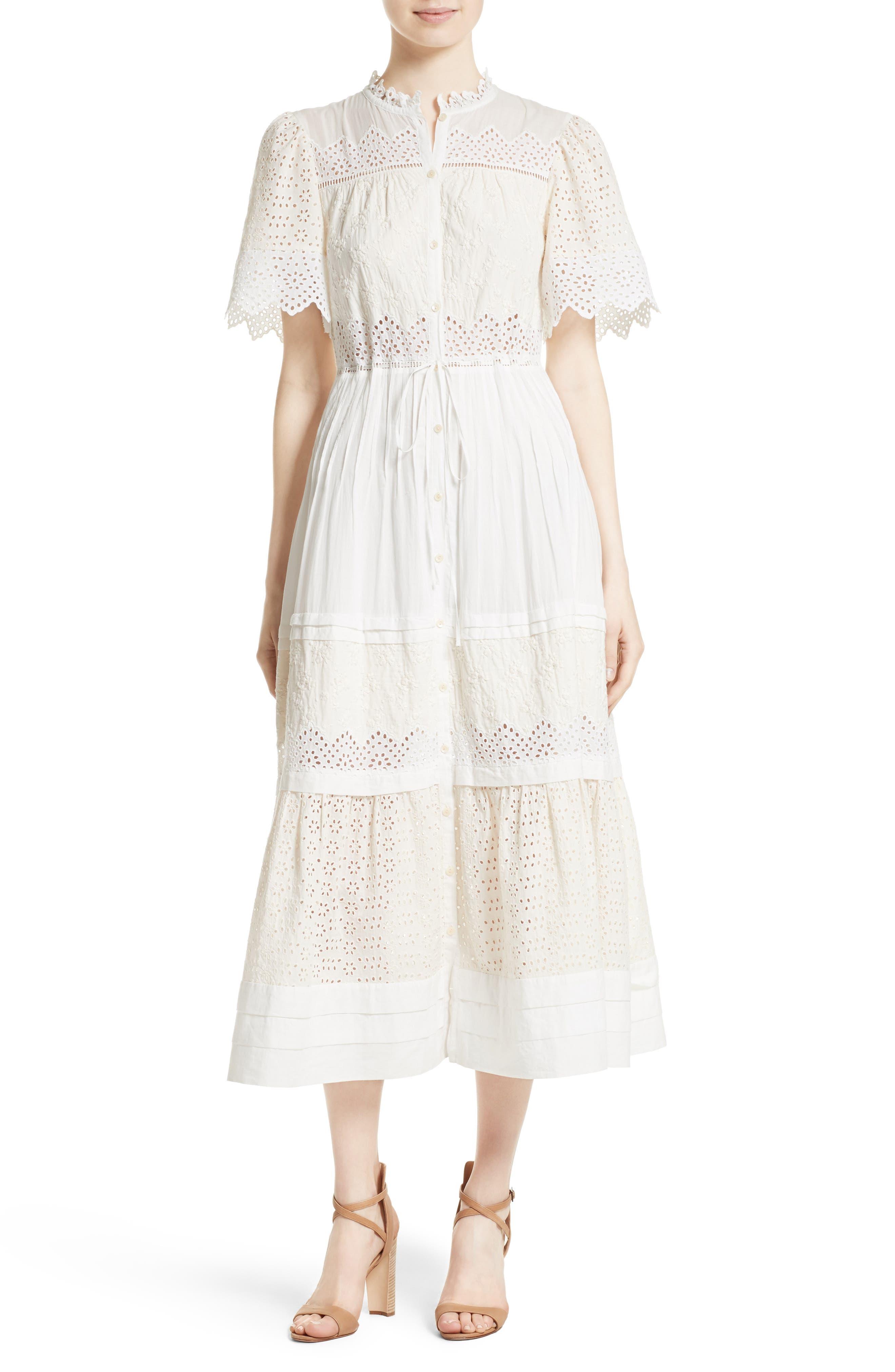 Embroidered Voile Midi Dress,                         Main,                         color, Milk/ Beige