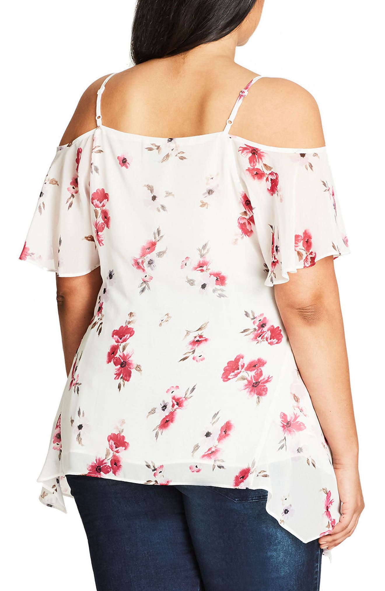 Pretty Girl Print Cold Shoulder Top,                             Alternate thumbnail 2, color,                             Fuchsia