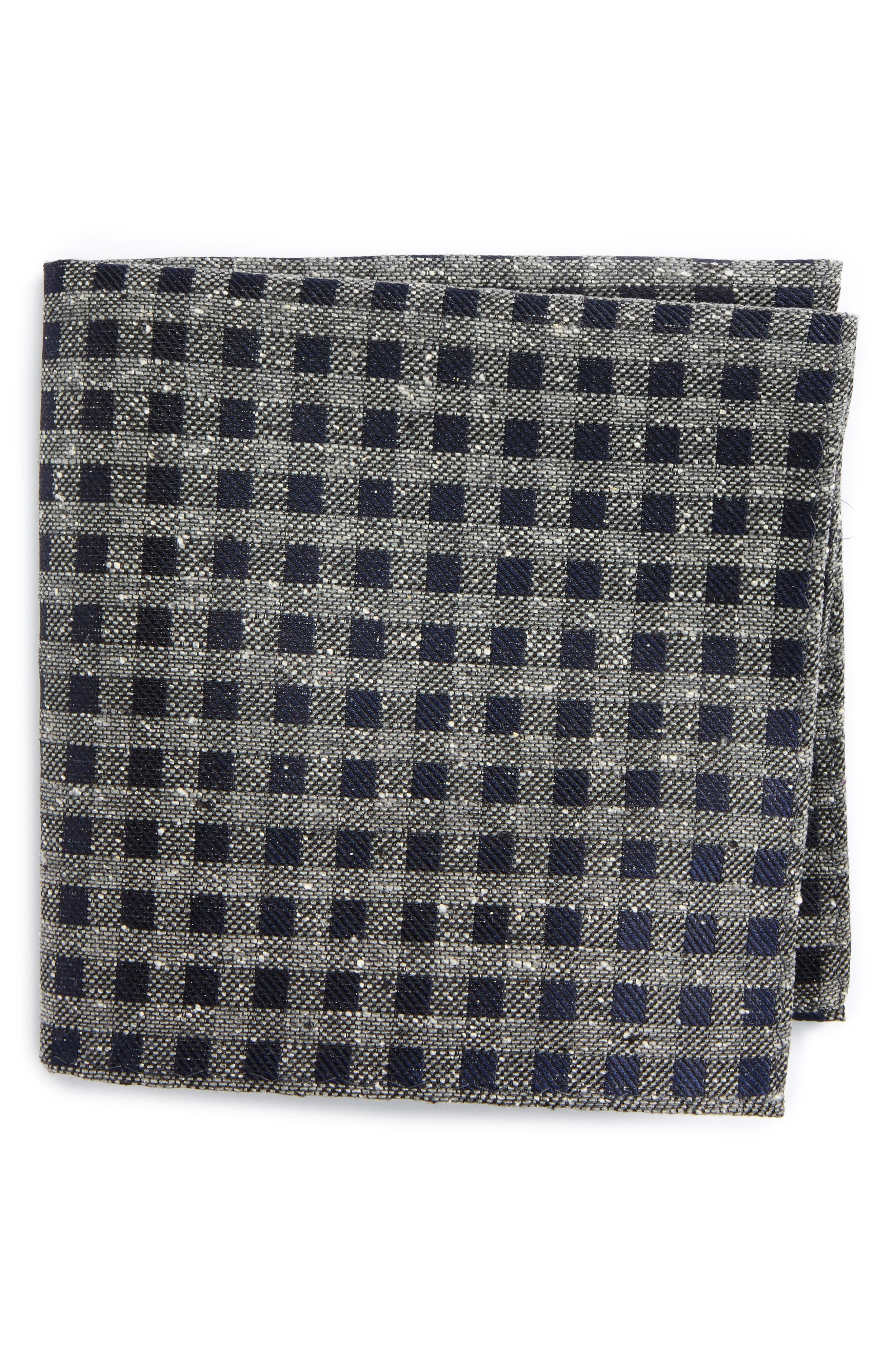 Cement Checks Silk Pocket Square,                         Main,                         color, Navy