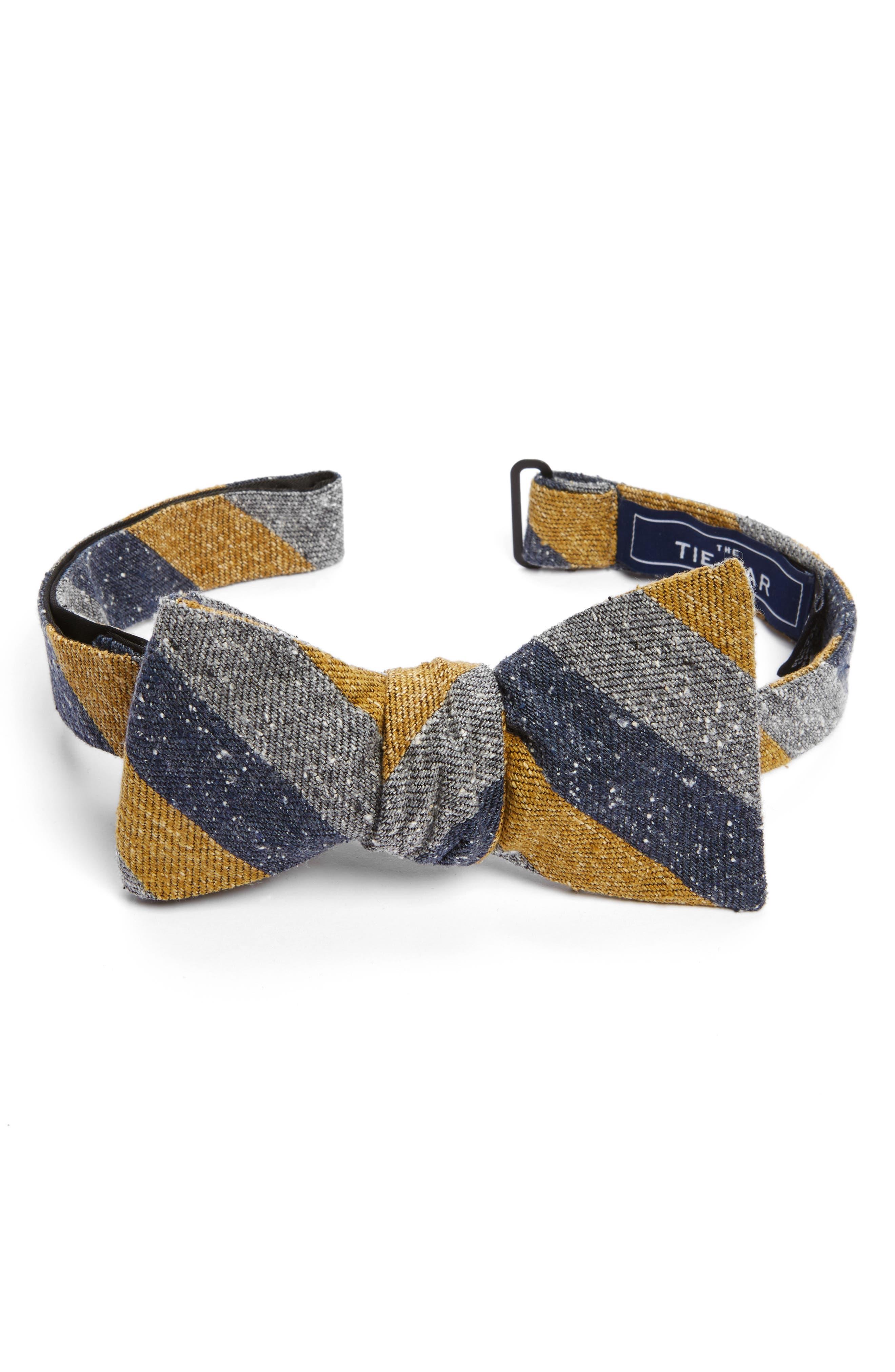 Varios Stripe Silk Bow Tie,                         Main,                         color, Mustard