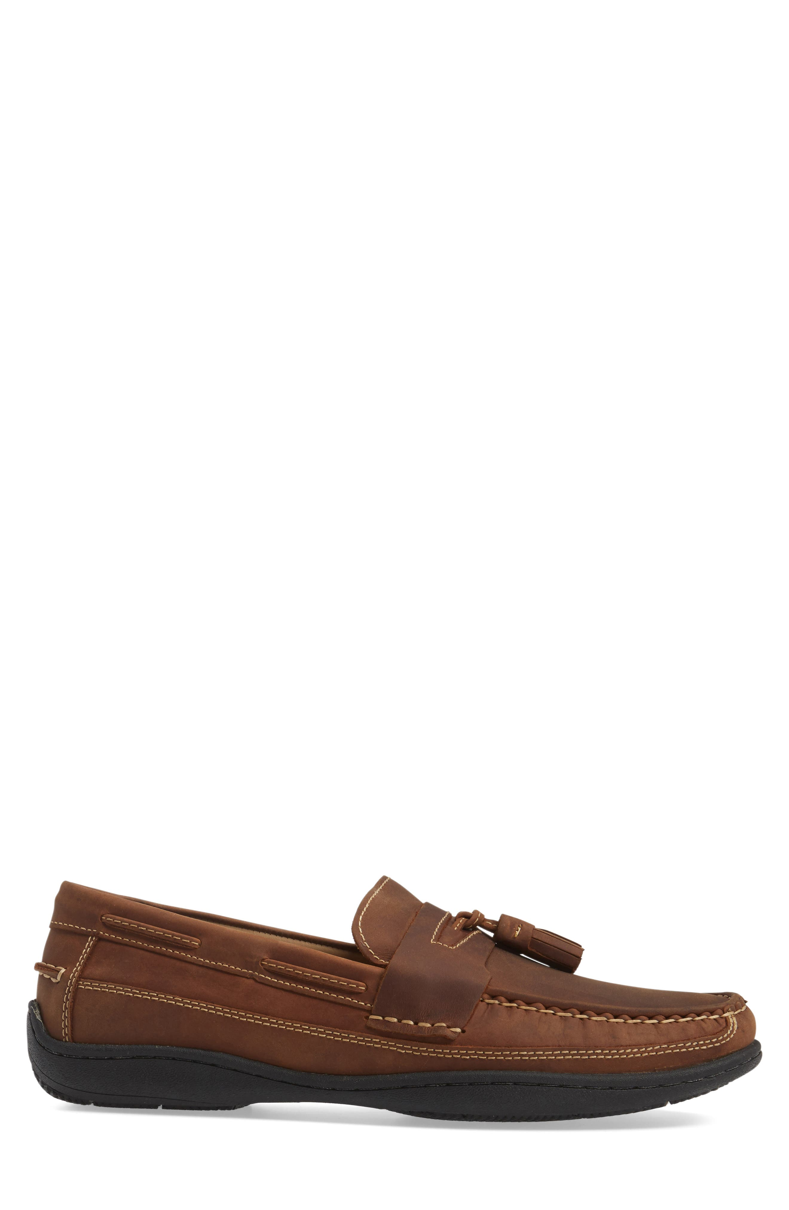 Fowler Tasseled Loafer,                             Alternate thumbnail 3, color,                             Tan Leather