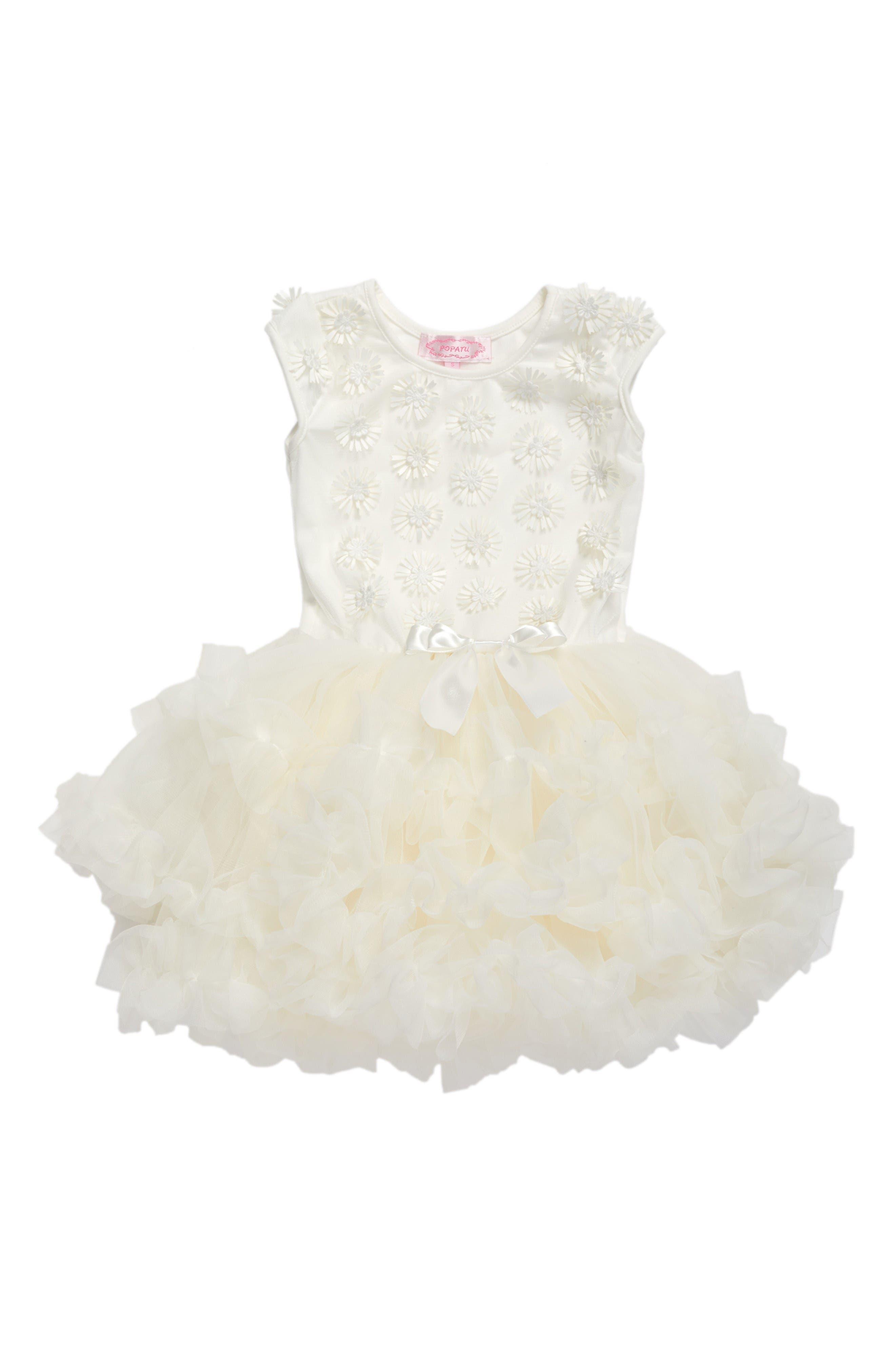 Main Image - Popatu White Daisy Tutu Dress (Baby Girls)