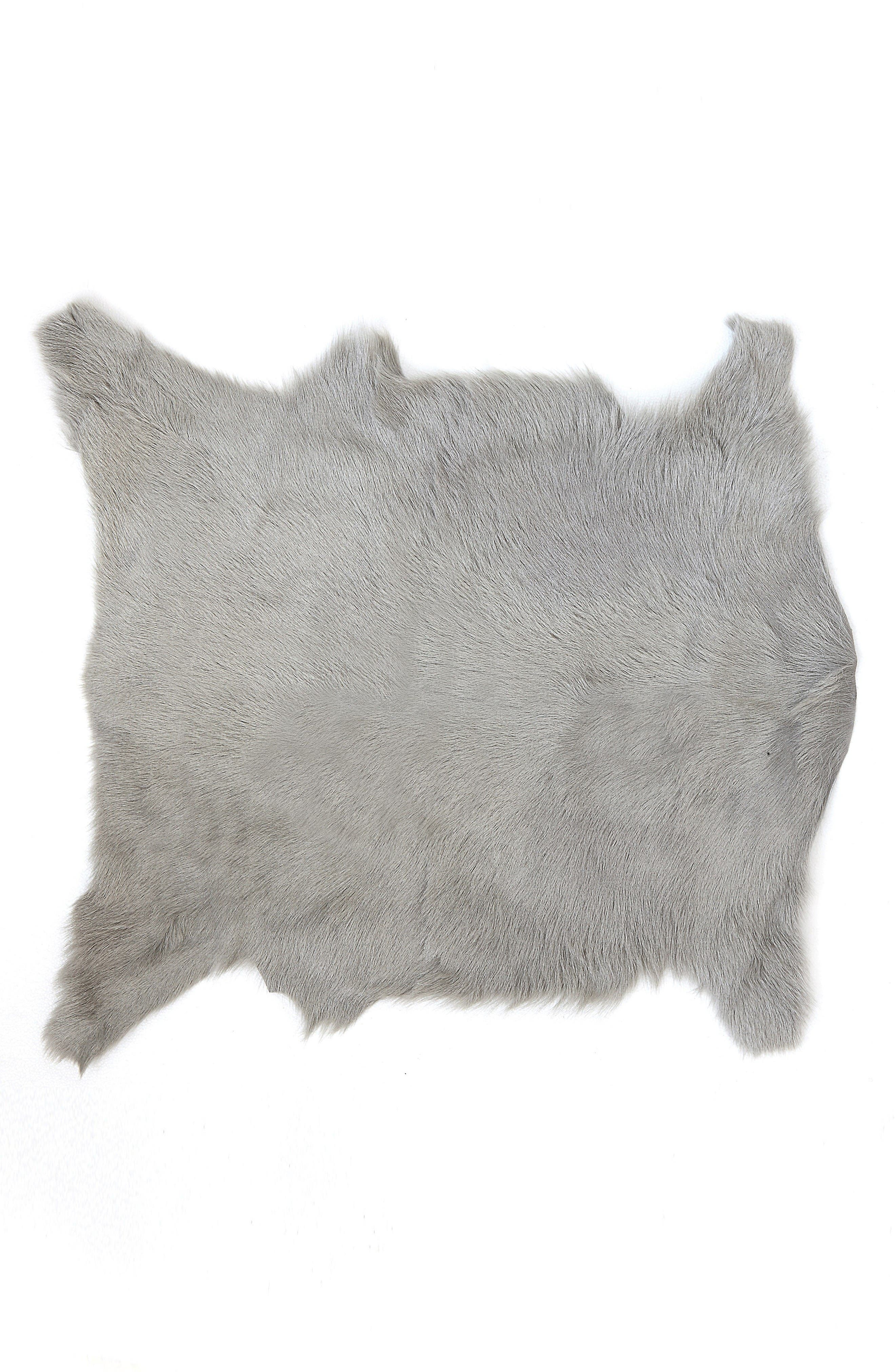 Genuine Goat Hair Rug,                             Main thumbnail 1, color,                             Grey