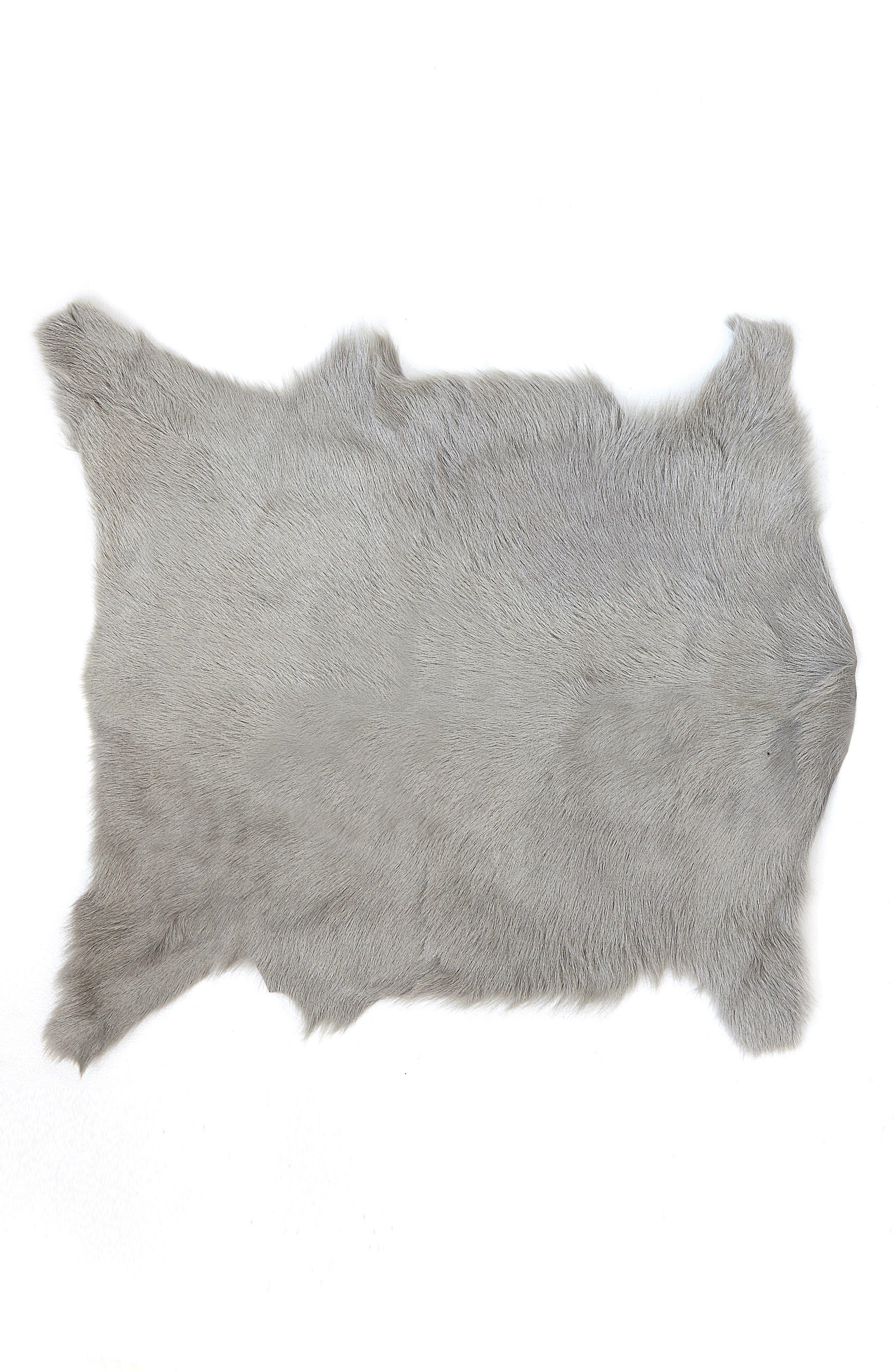 Genuine Goat Hair Rug,                         Main,                         color, Grey
