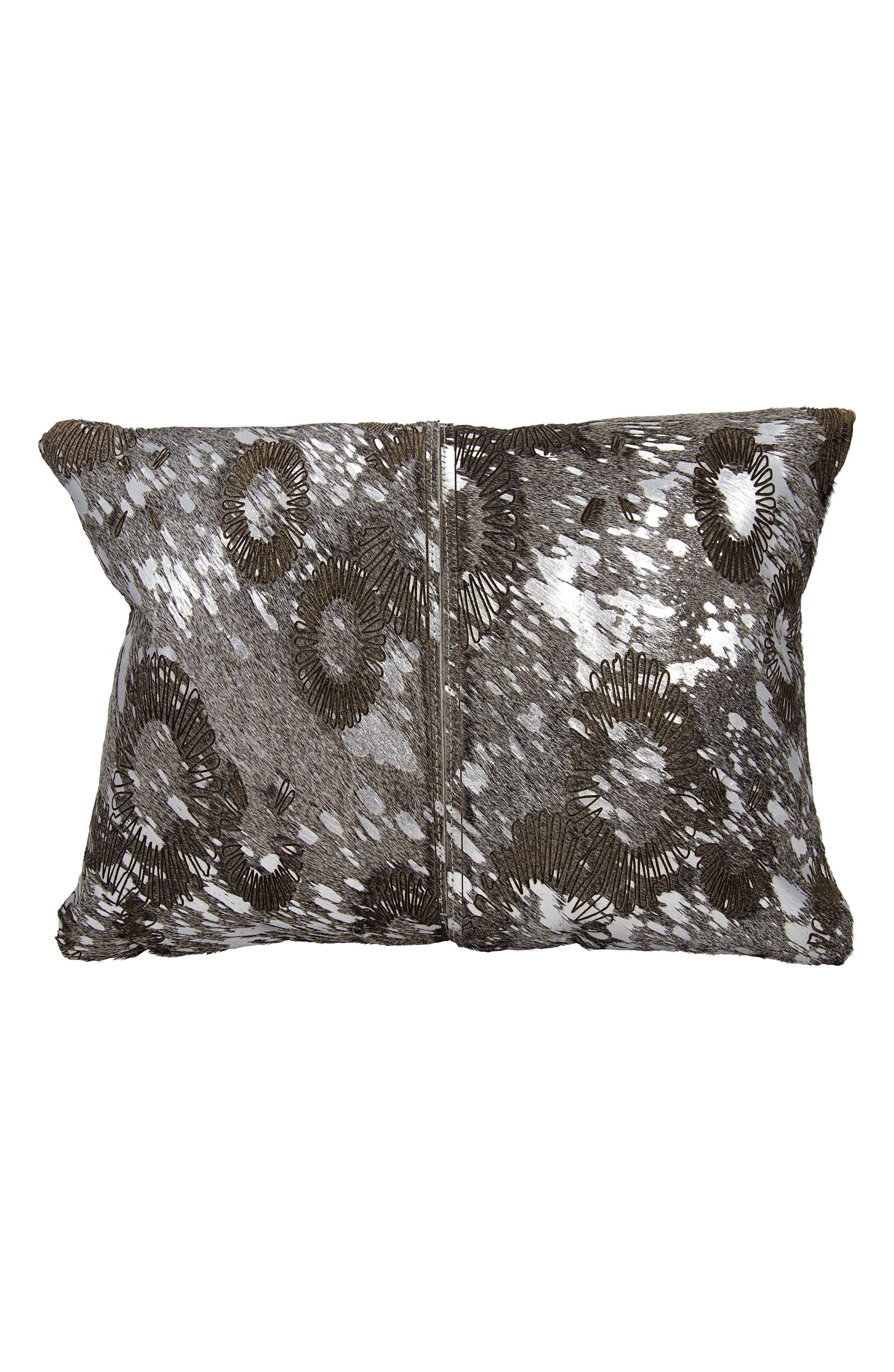 Metallic Calf Hair Accent Pillow,                         Main,                         color, Silver Grey