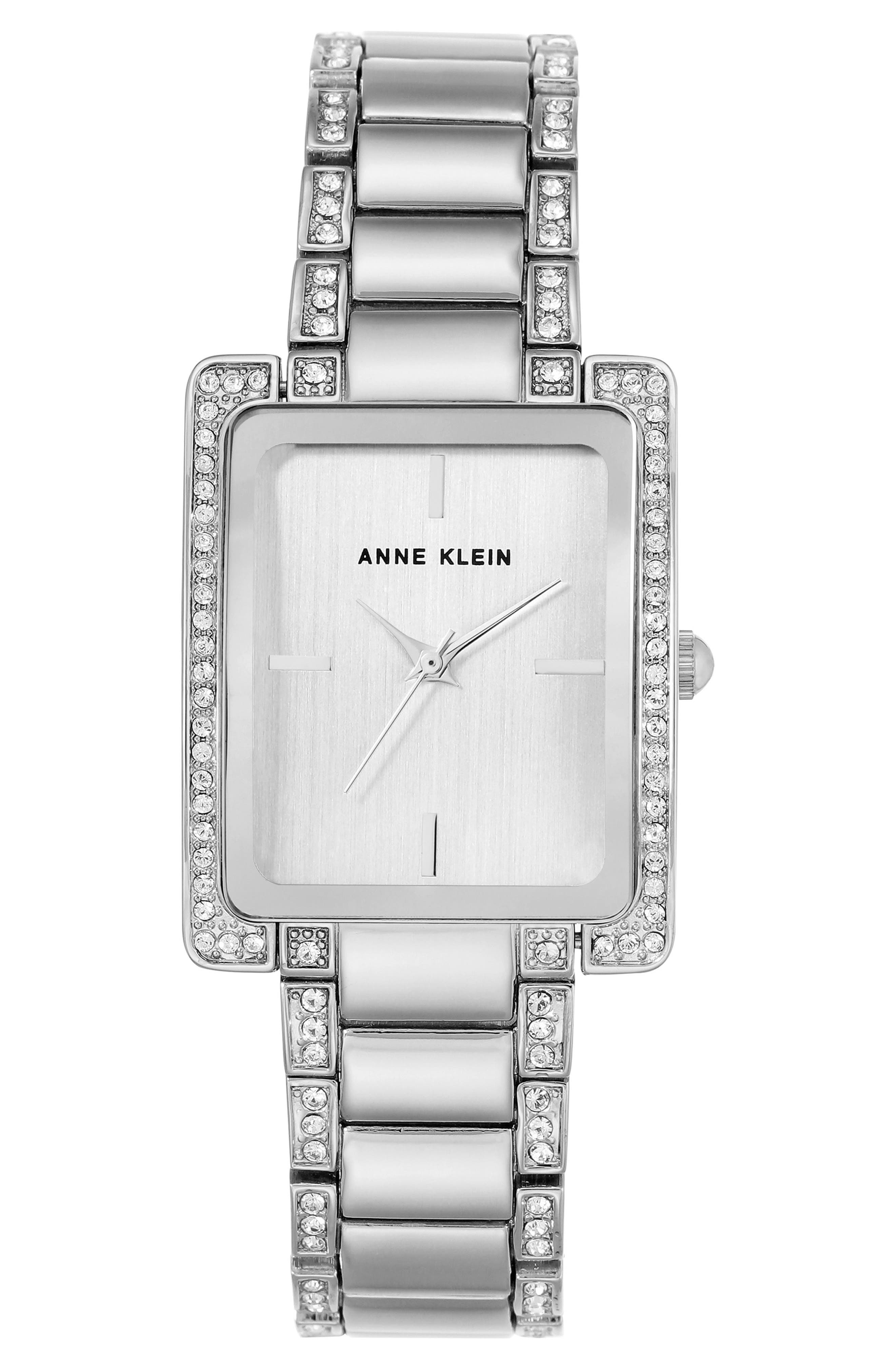 Alternate Image 1 Selected - Anne Klein Crystal Bracelet Watch, 28mm x 35mm