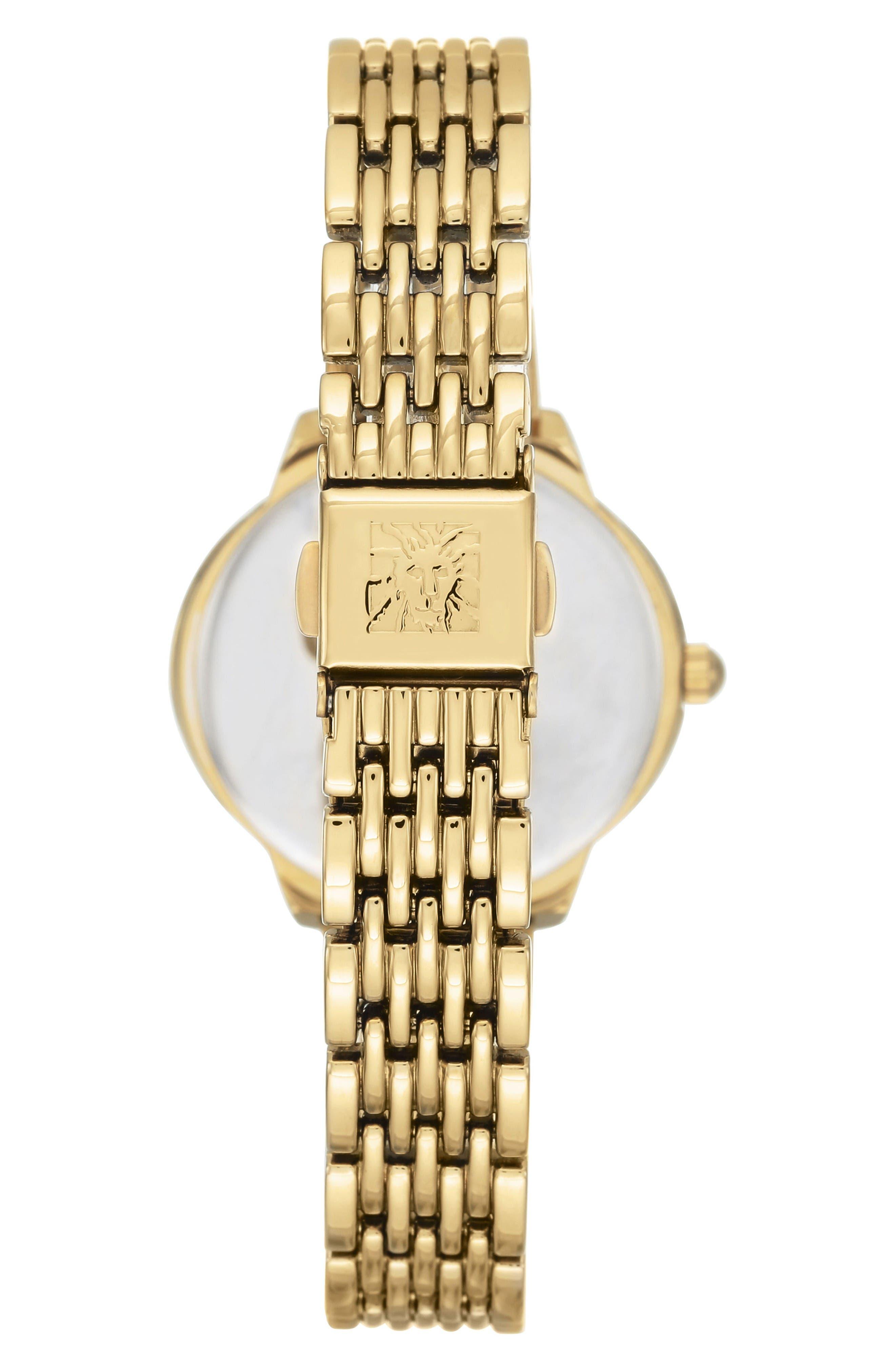 Oval Diamond Bracelet Watch, 28mm,                             Alternate thumbnail 3, color,                             Gold/ White/ Gold